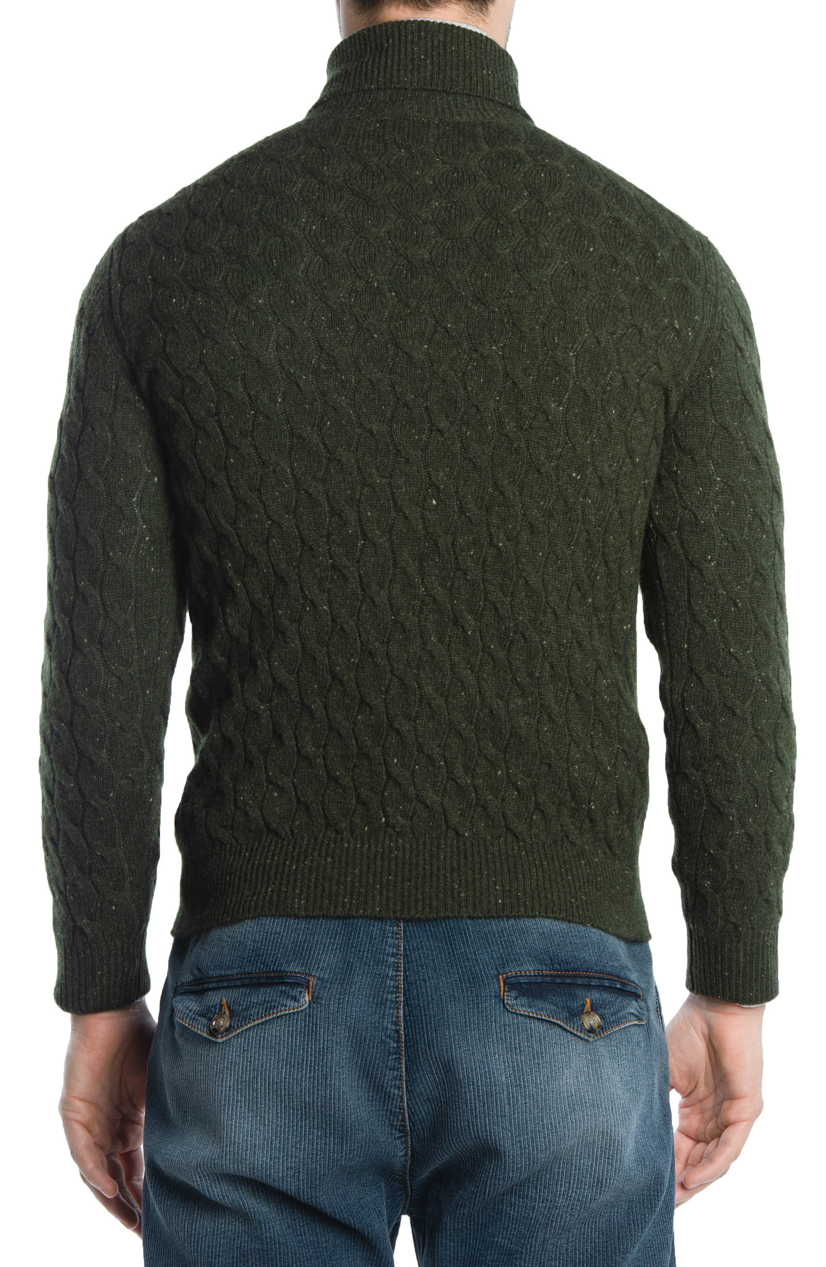 Cableknit Turtleneck Cashmere Sweater,                             Alternate thumbnail 2, color,                             GREEN