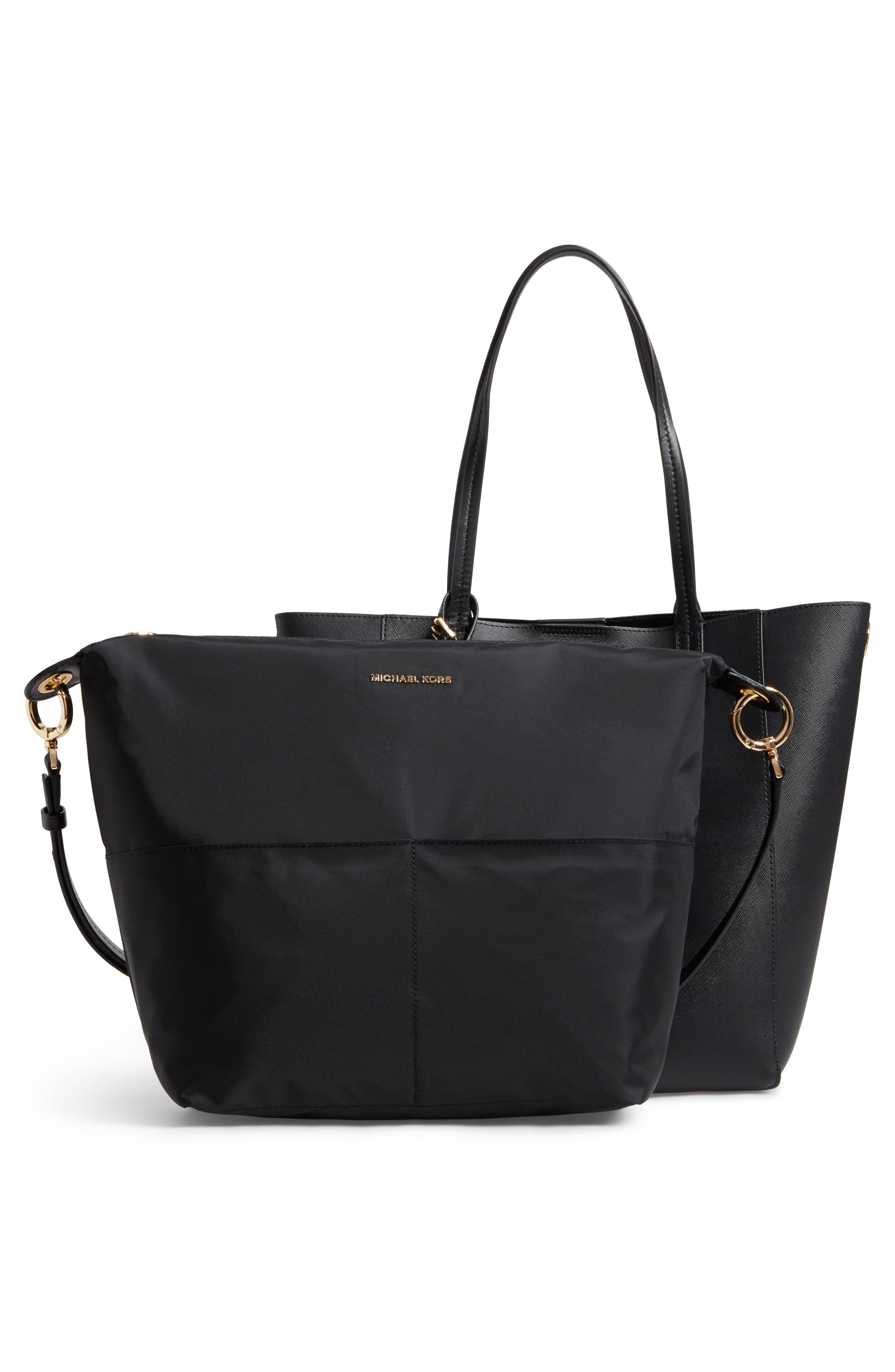 Penny Large Saffiano Convertible Leather Tote,                             Alternate thumbnail 3, color,                             001