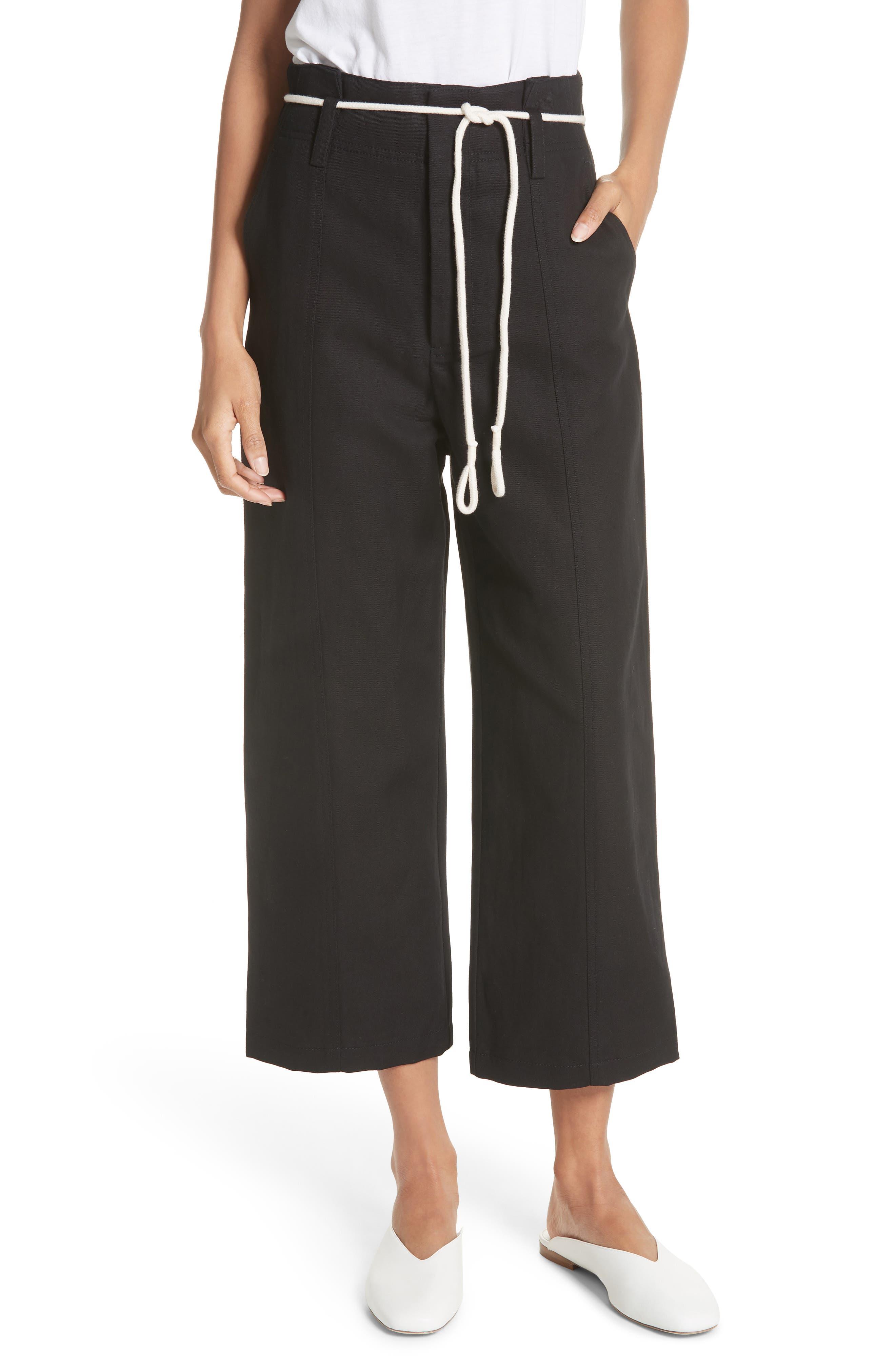High Rise Linen Cotton Crop Pants,                         Main,                         color, BLACK