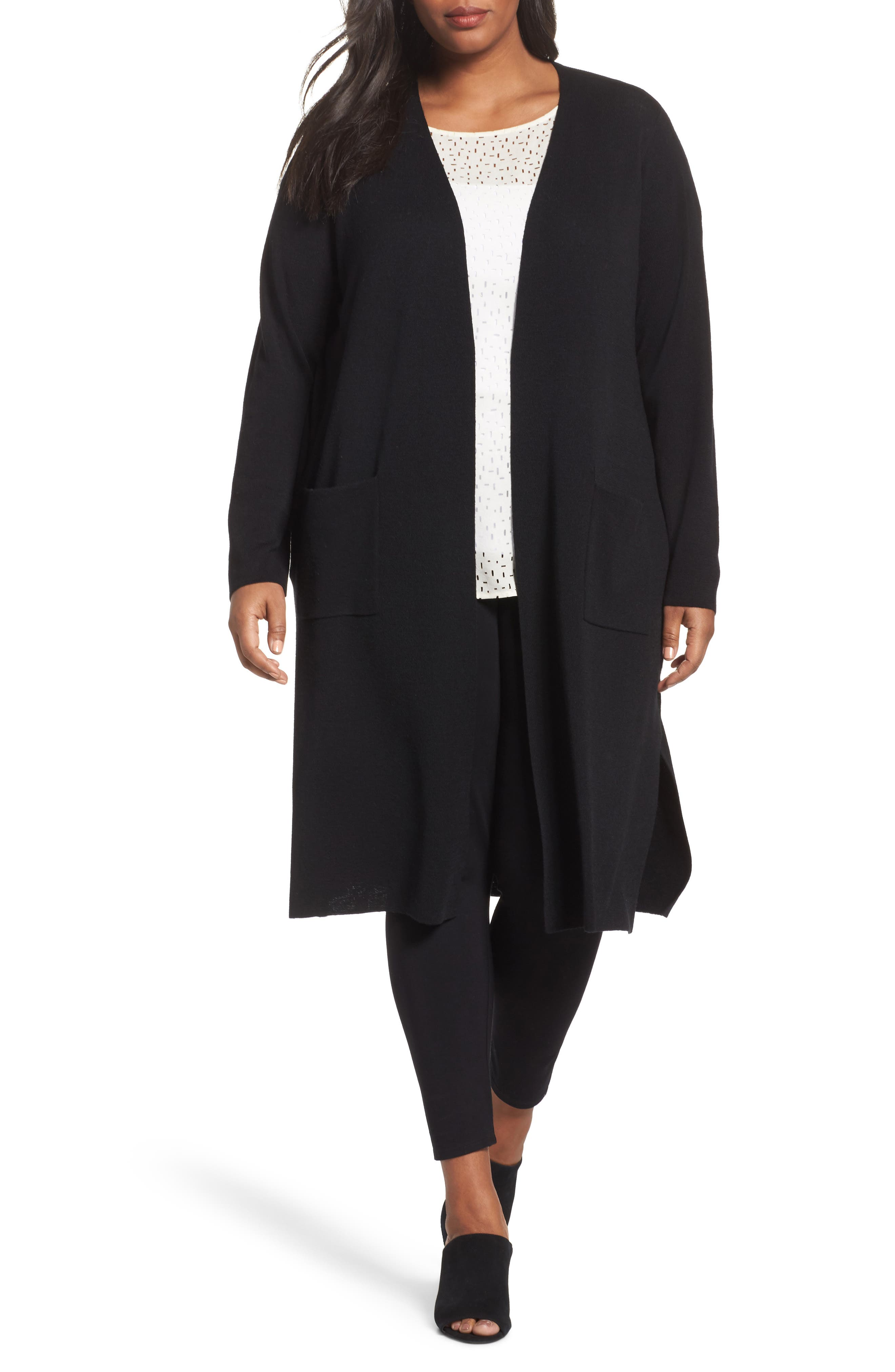 Long Merino Wool Cardigan,                         Main,                         color, 001