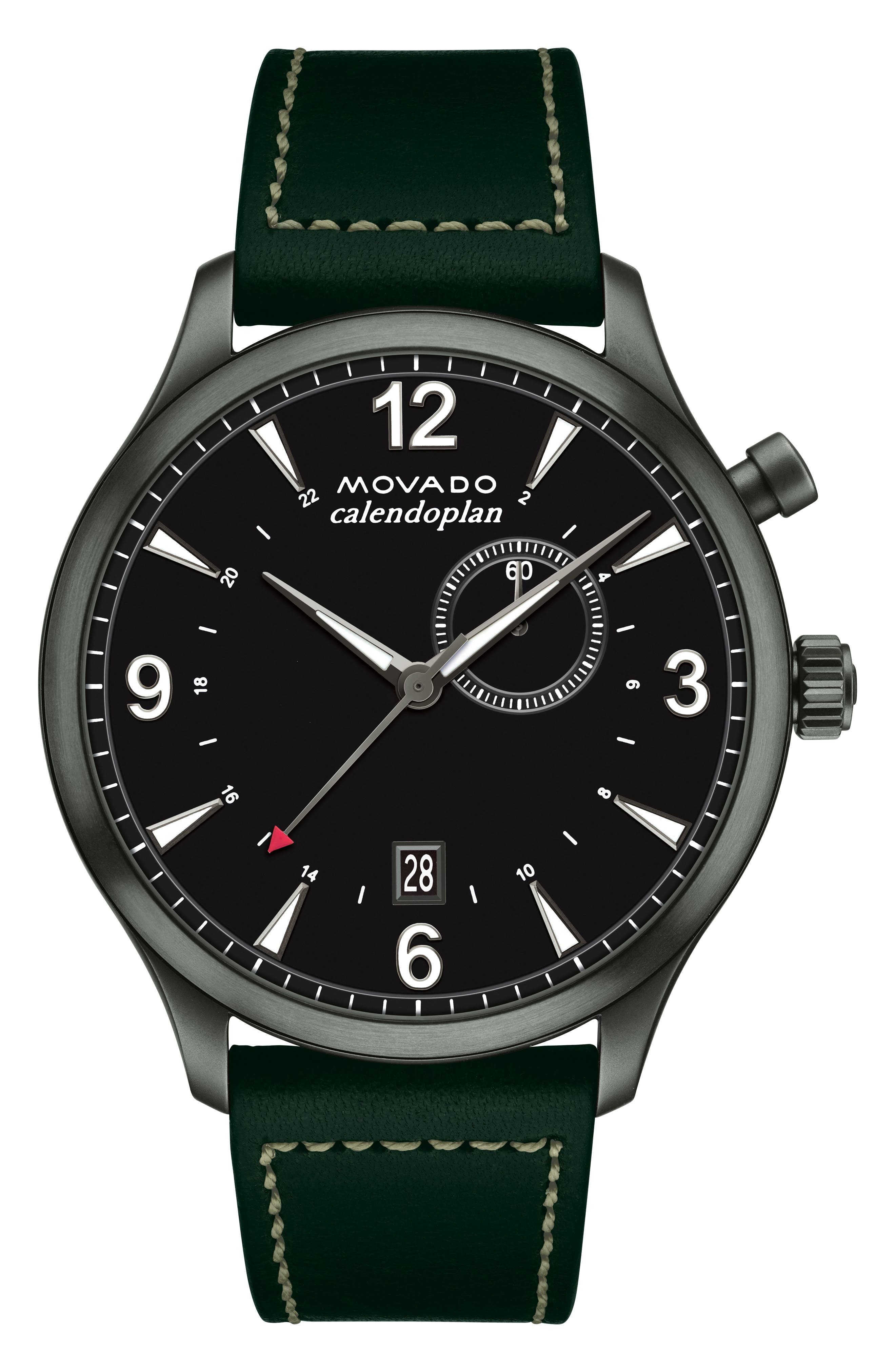 Heritage Calendoplan Leather Strap Watch, 43mm,                         Main,                         color, GREEN/ BLACK/ SILVER