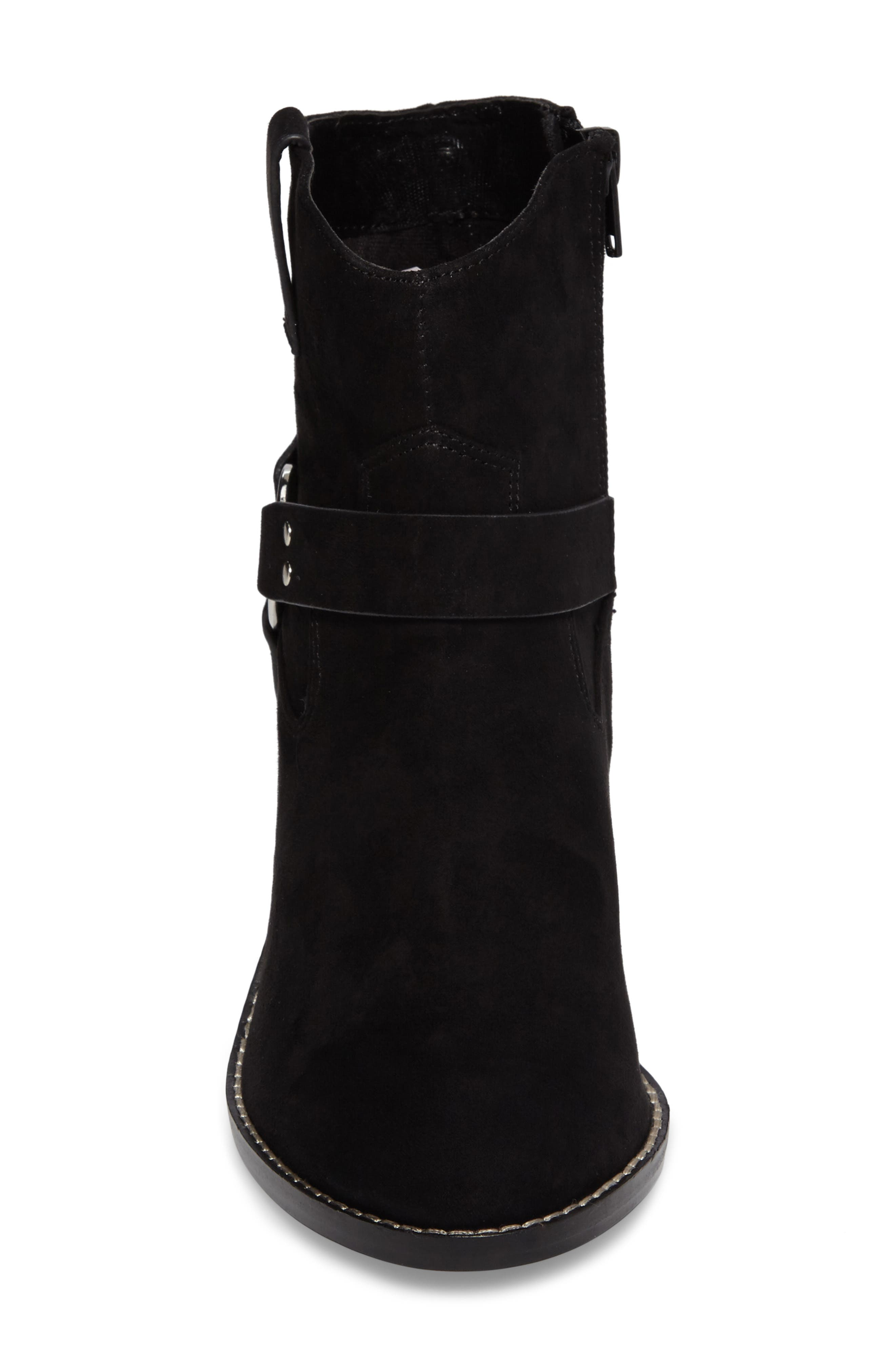 Fancye Ringed Ankle Strap Bootie,                             Alternate thumbnail 4, color,                             BLACK SYNTHETIC