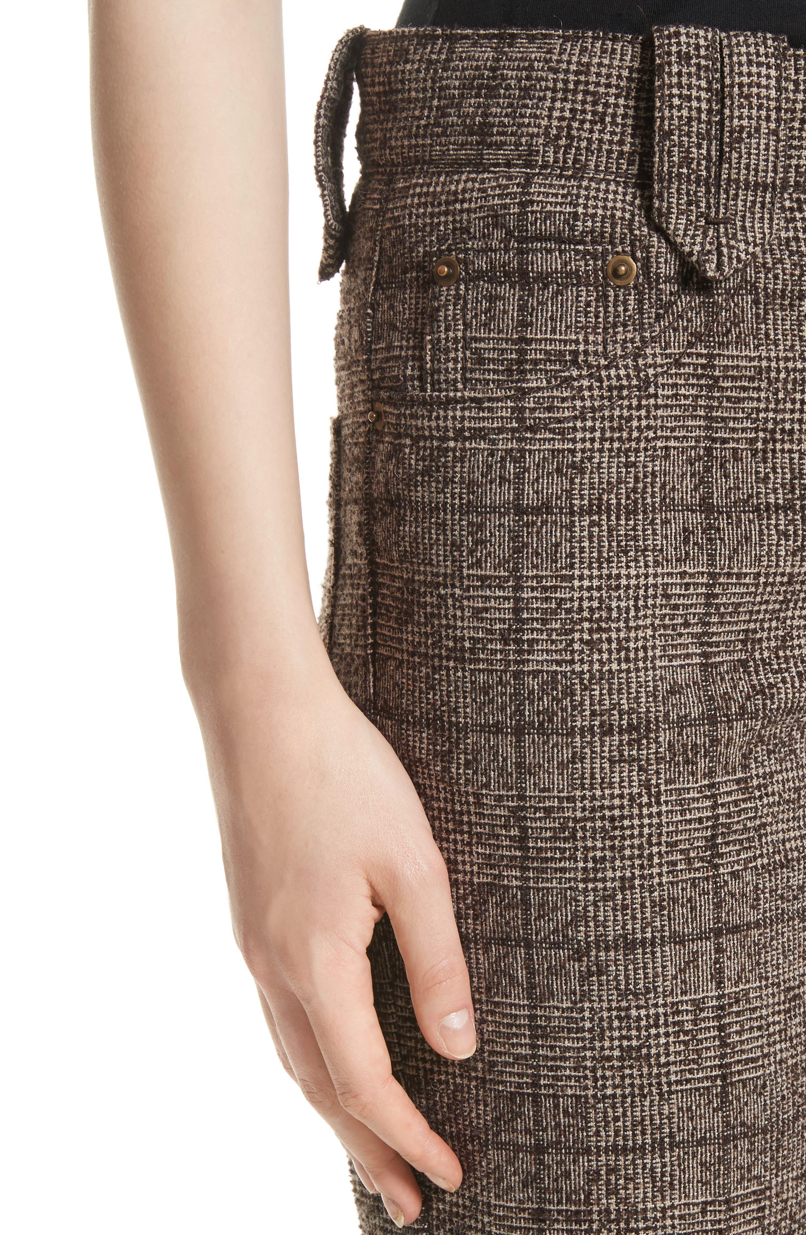 Plaid Tweed Crop Pants,                             Alternate thumbnail 4, color,                             201