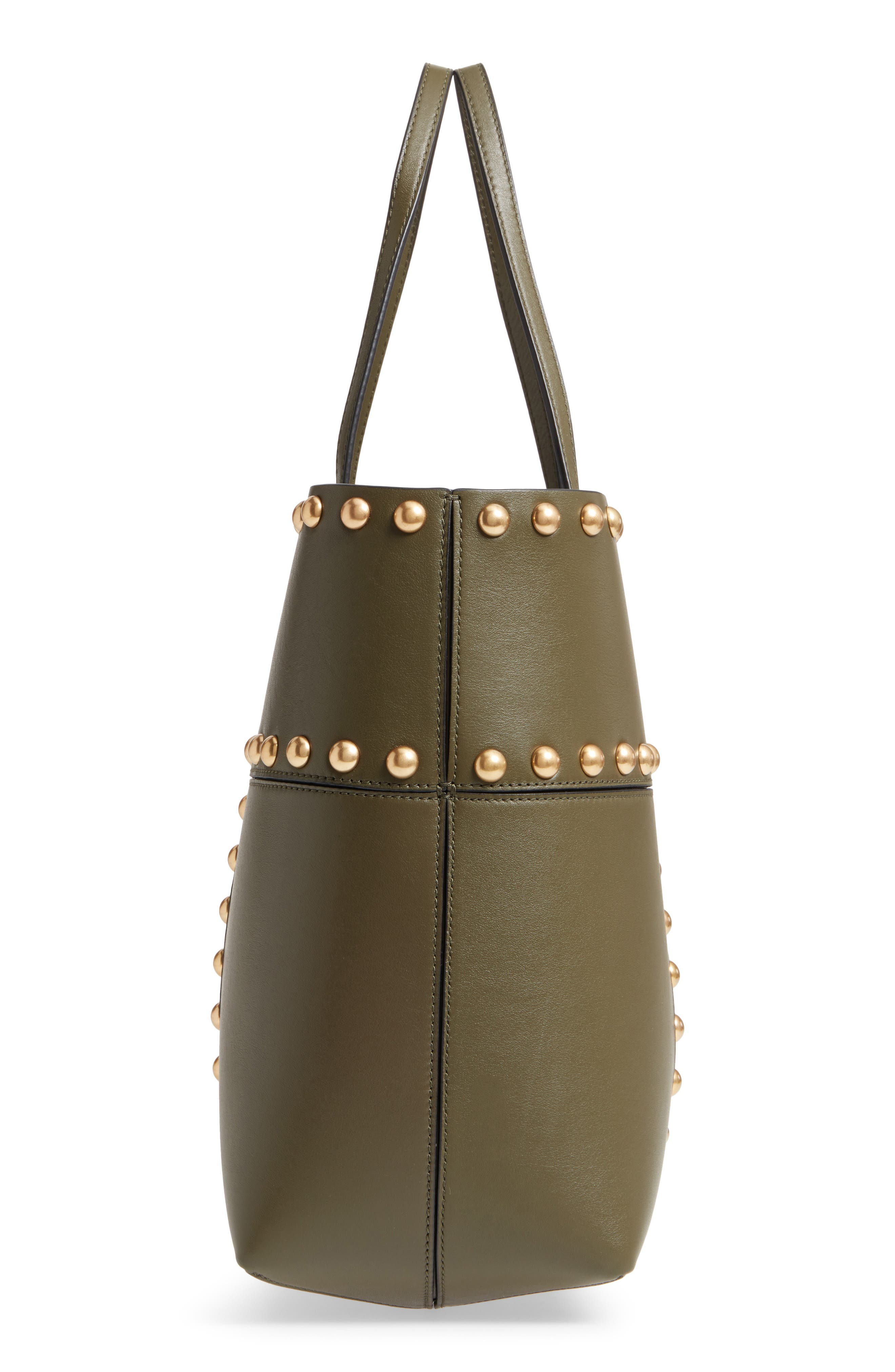 Block-T Studded Leather Tote,                             Alternate thumbnail 5, color,                             300