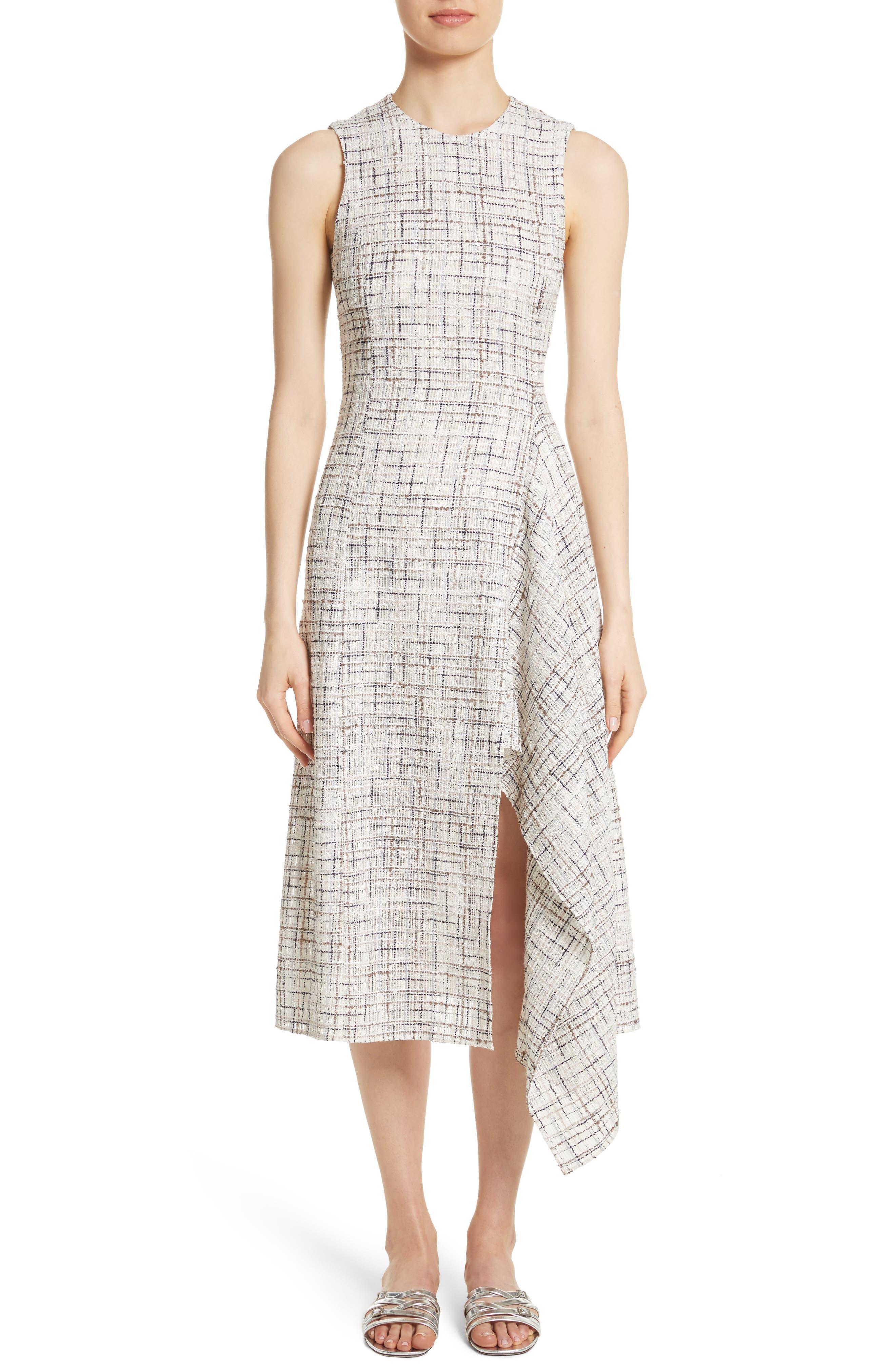 Draped Tweed Dress,                             Main thumbnail 1, color,
