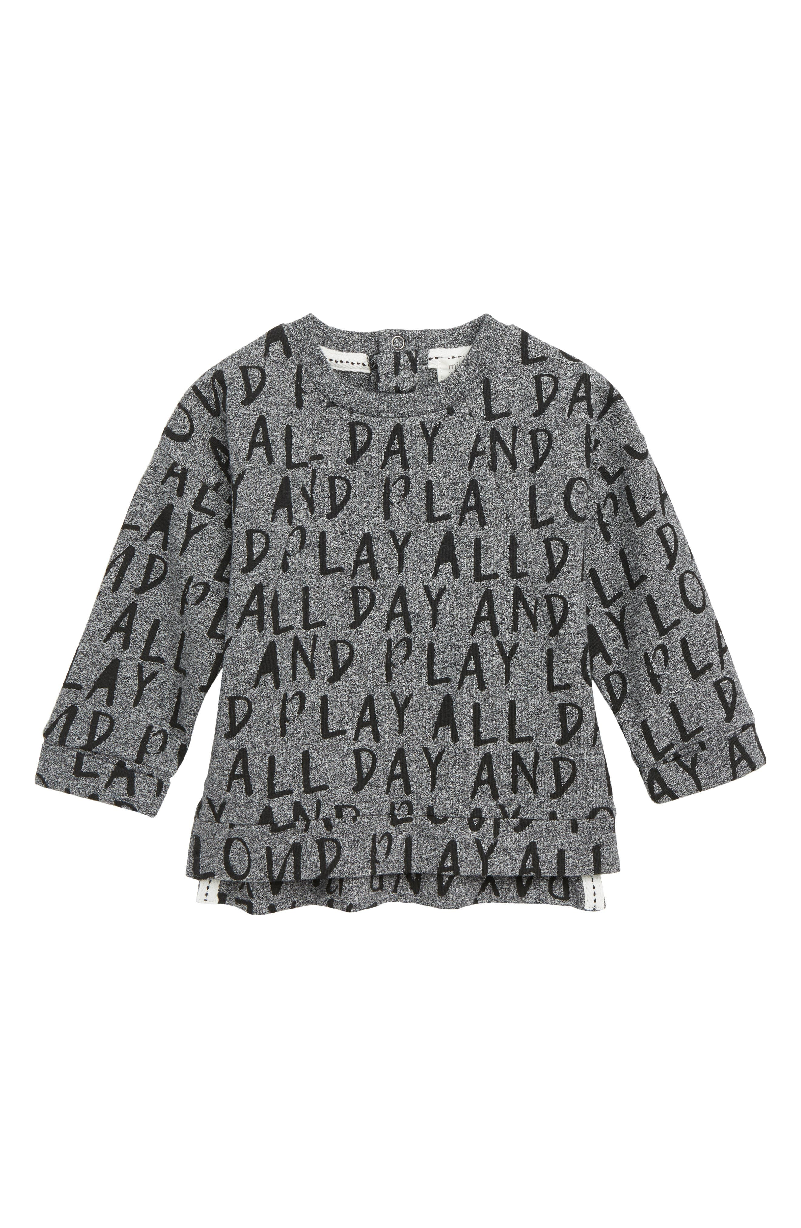 Print Knit Pullover,                         Main,                         color, MEDIUM HEATHER GREY