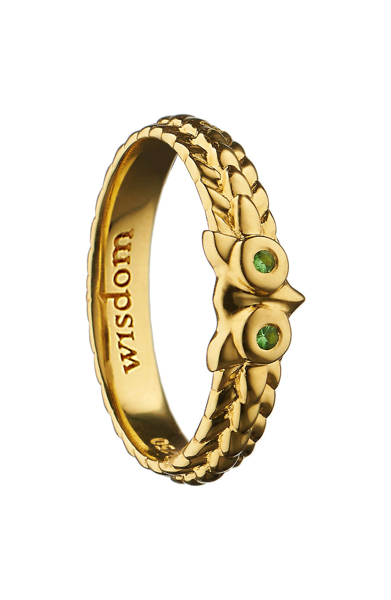 Wisdom Owl Poesy Ring Charm,                             Main thumbnail 1, color,                             18K YELLOW GOLD