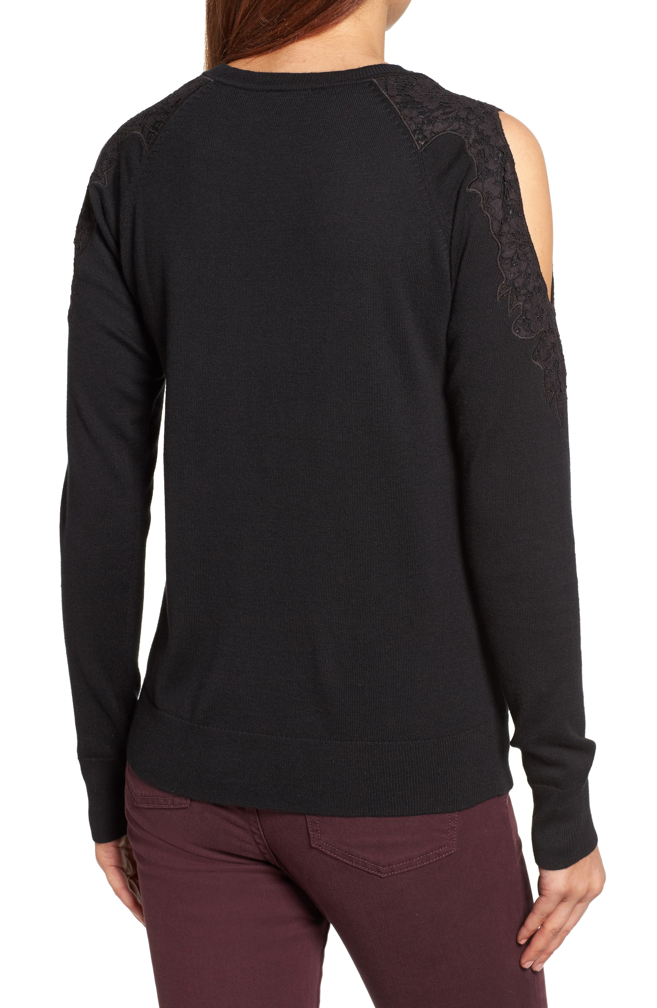 Lace Detail Cold Shoulder Sweater,                             Alternate thumbnail 2, color,                             001