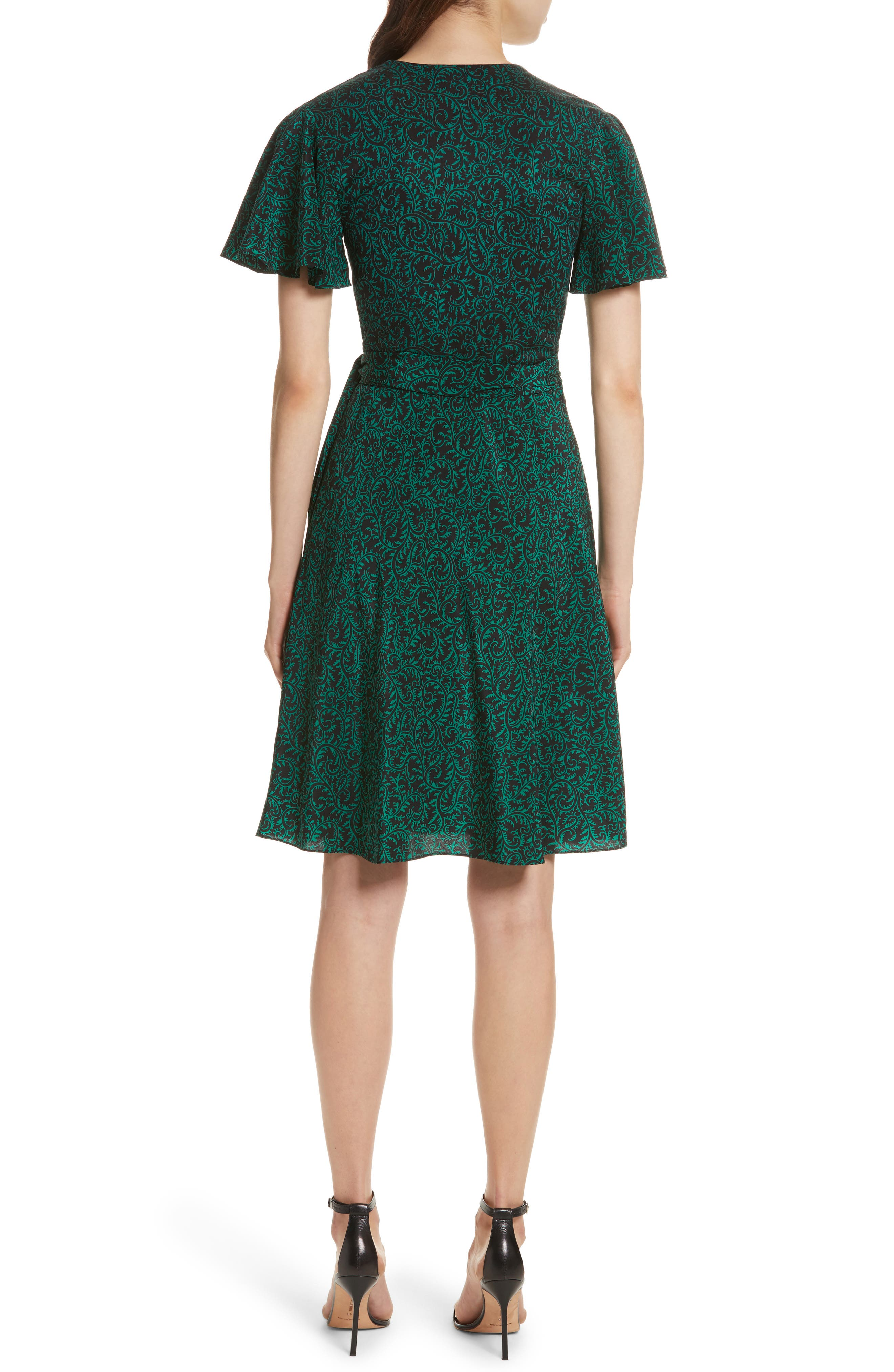 Diane von Furstenberg Flutter Sleeve Silk Wrap Dress,                             Alternate thumbnail 7, color,