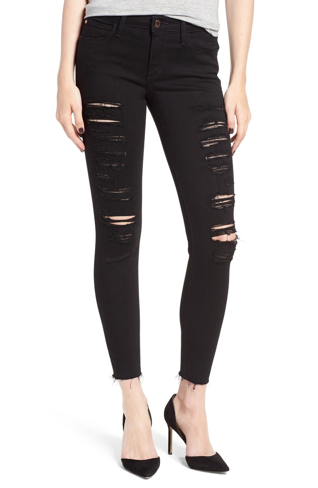 'Icon' Ripped Ankle Skinny Jeans,                             Alternate thumbnail 2, color,                             001
