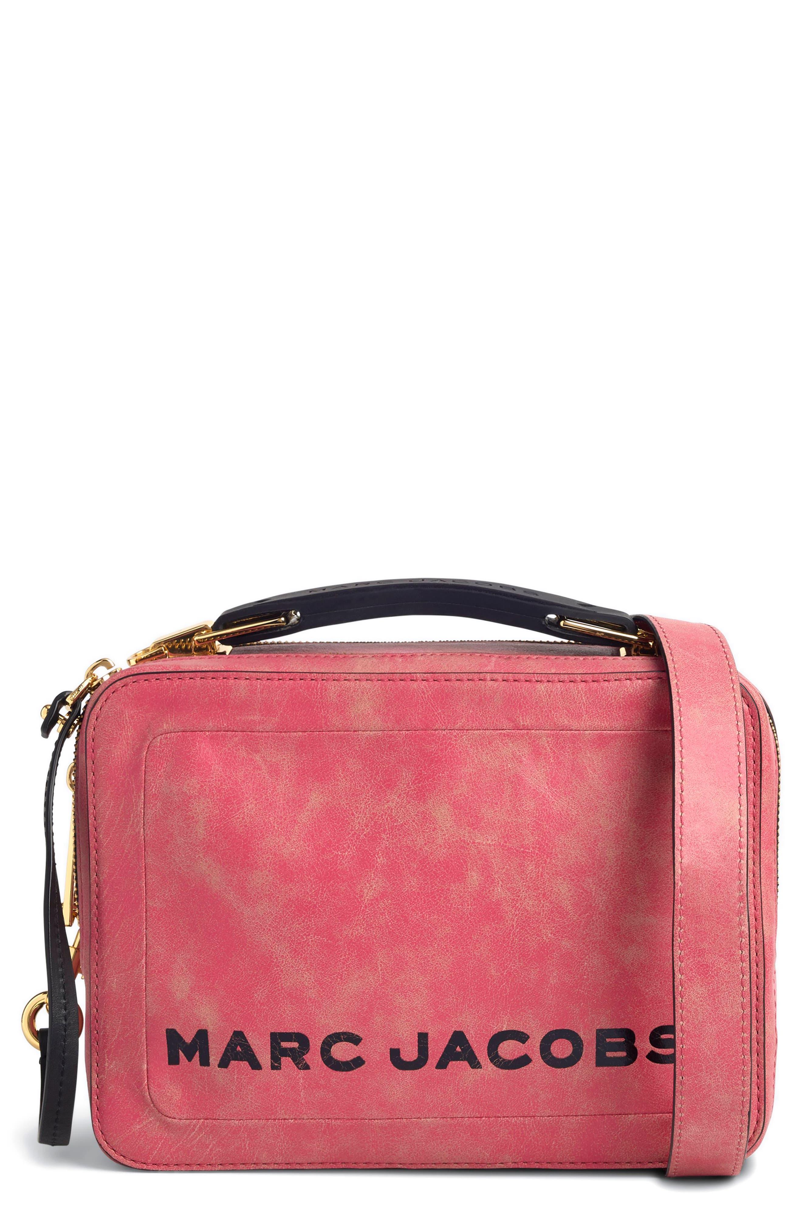 The Box Leather Handbag,                             Main thumbnail 1, color,                             PEONY