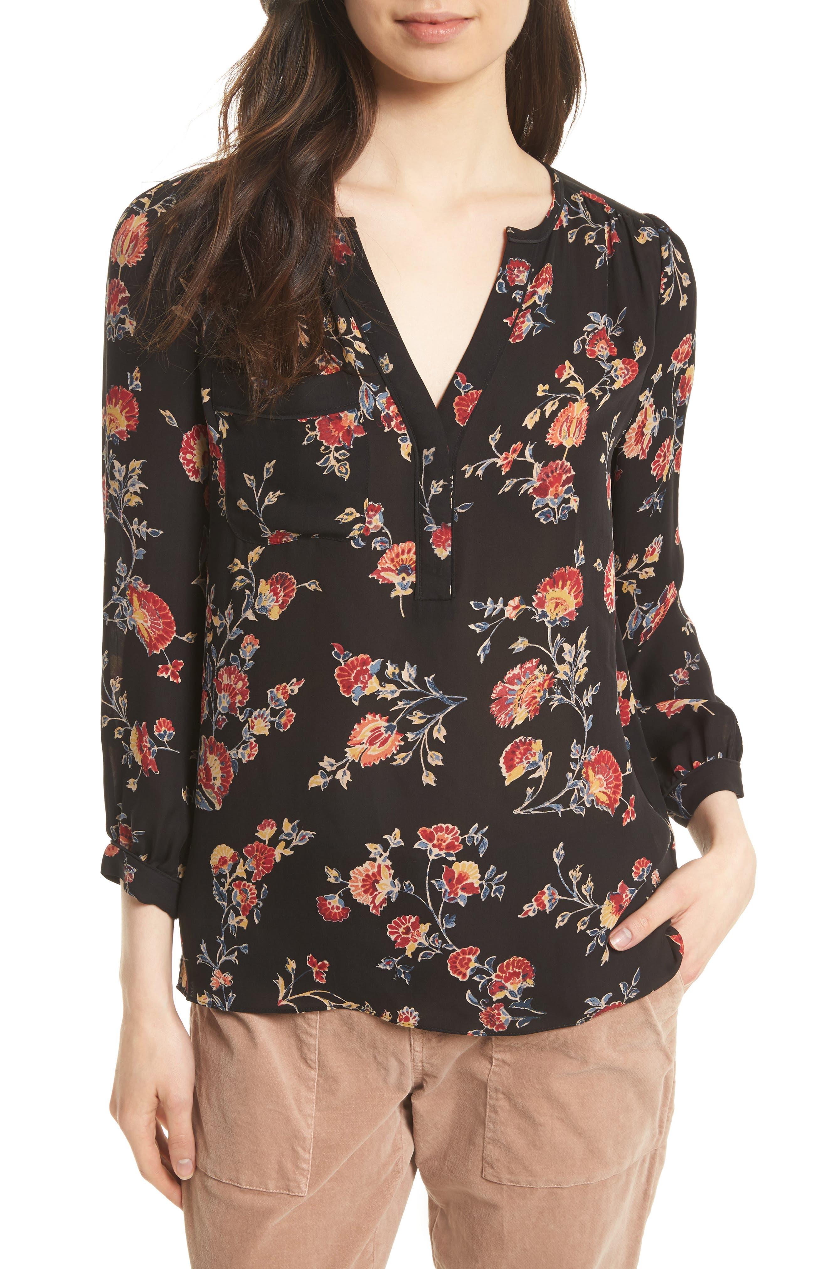 Brittin Floral Silk Top,                             Main thumbnail 1, color,                             007