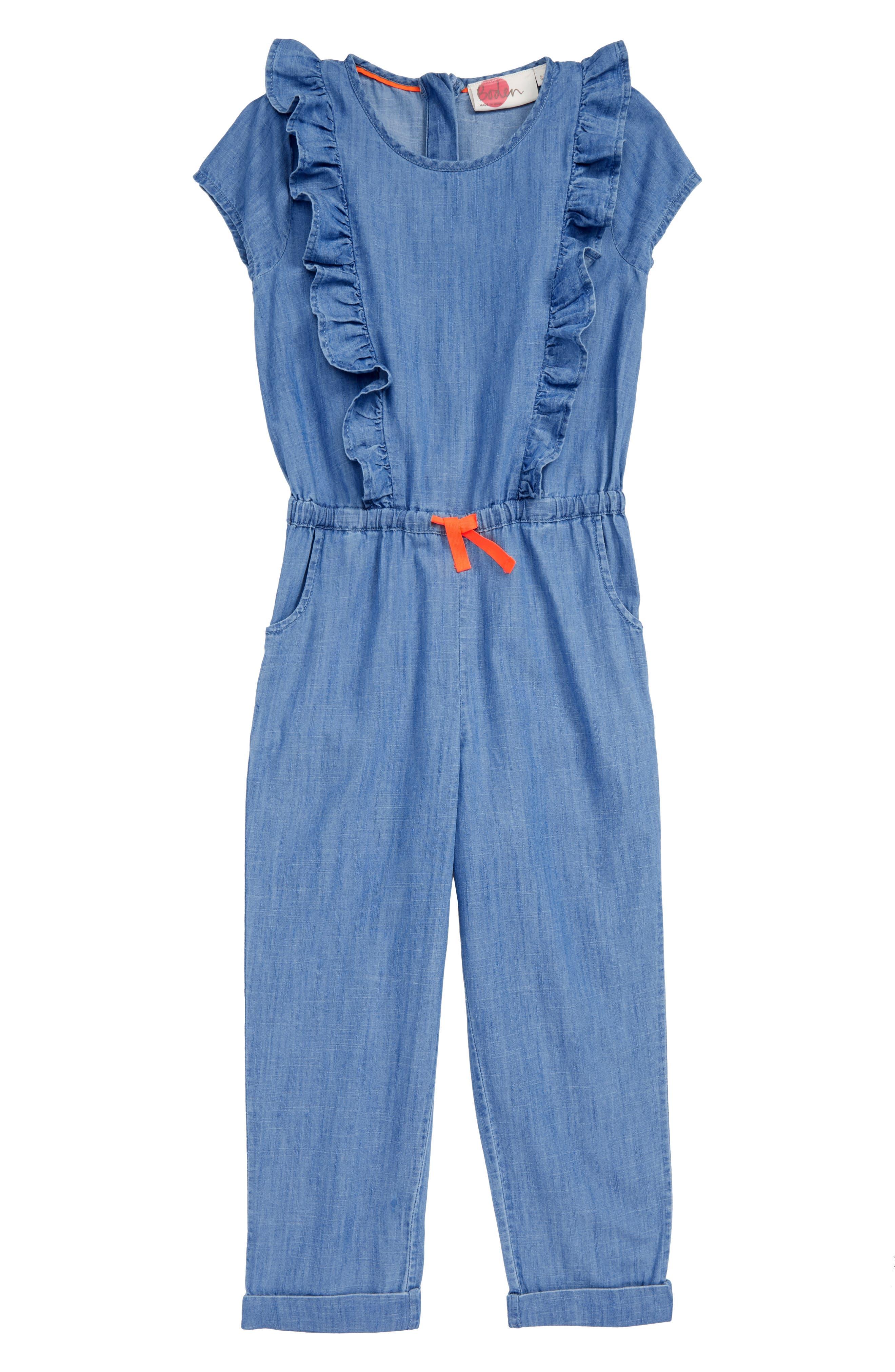 Frill Jumpsuit,                             Main thumbnail 1, color,                             PRP INDIGO CHAMBRAY