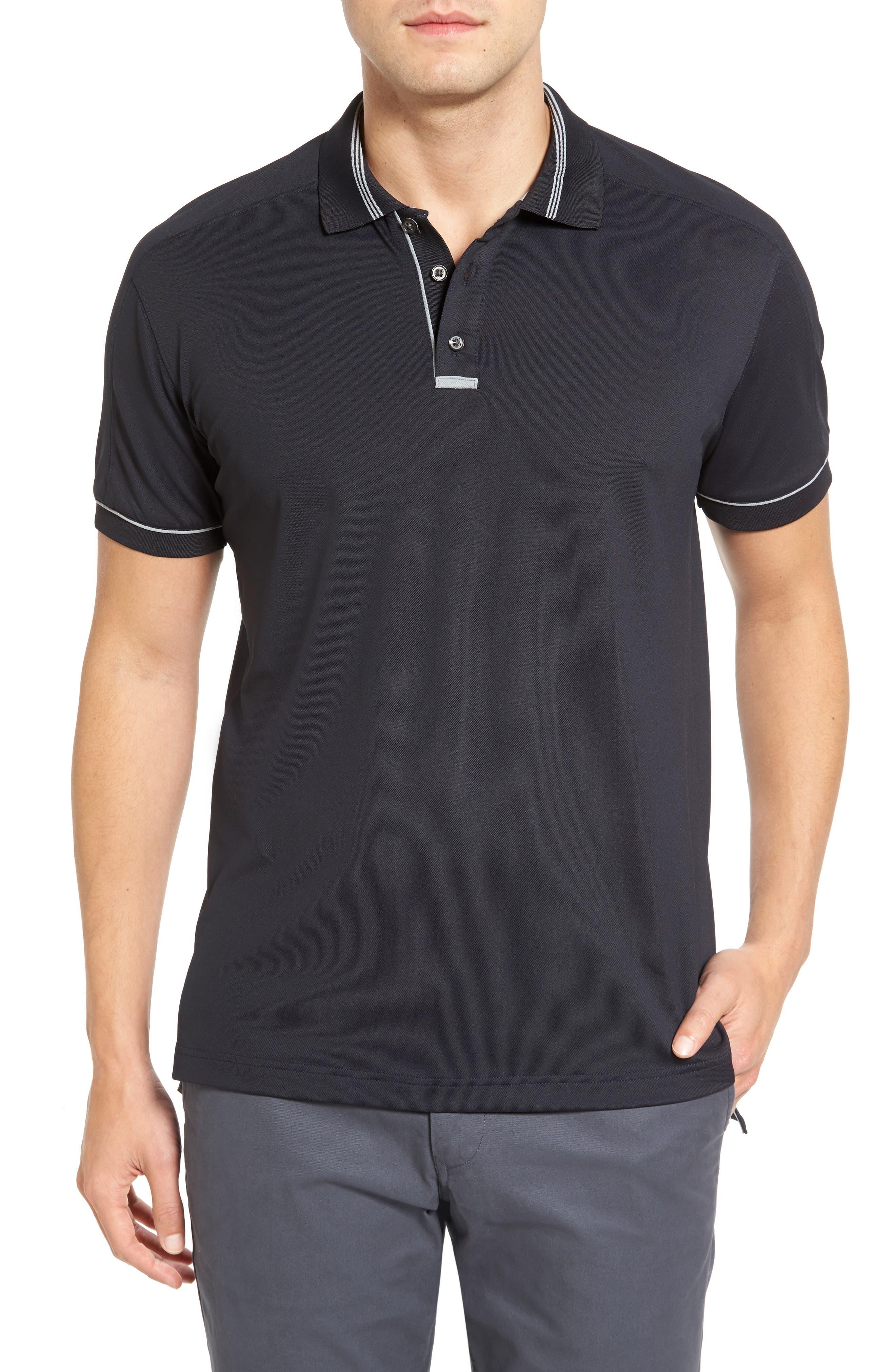 Tech Piqué Golf Polo,                         Main,                         color, BLACK