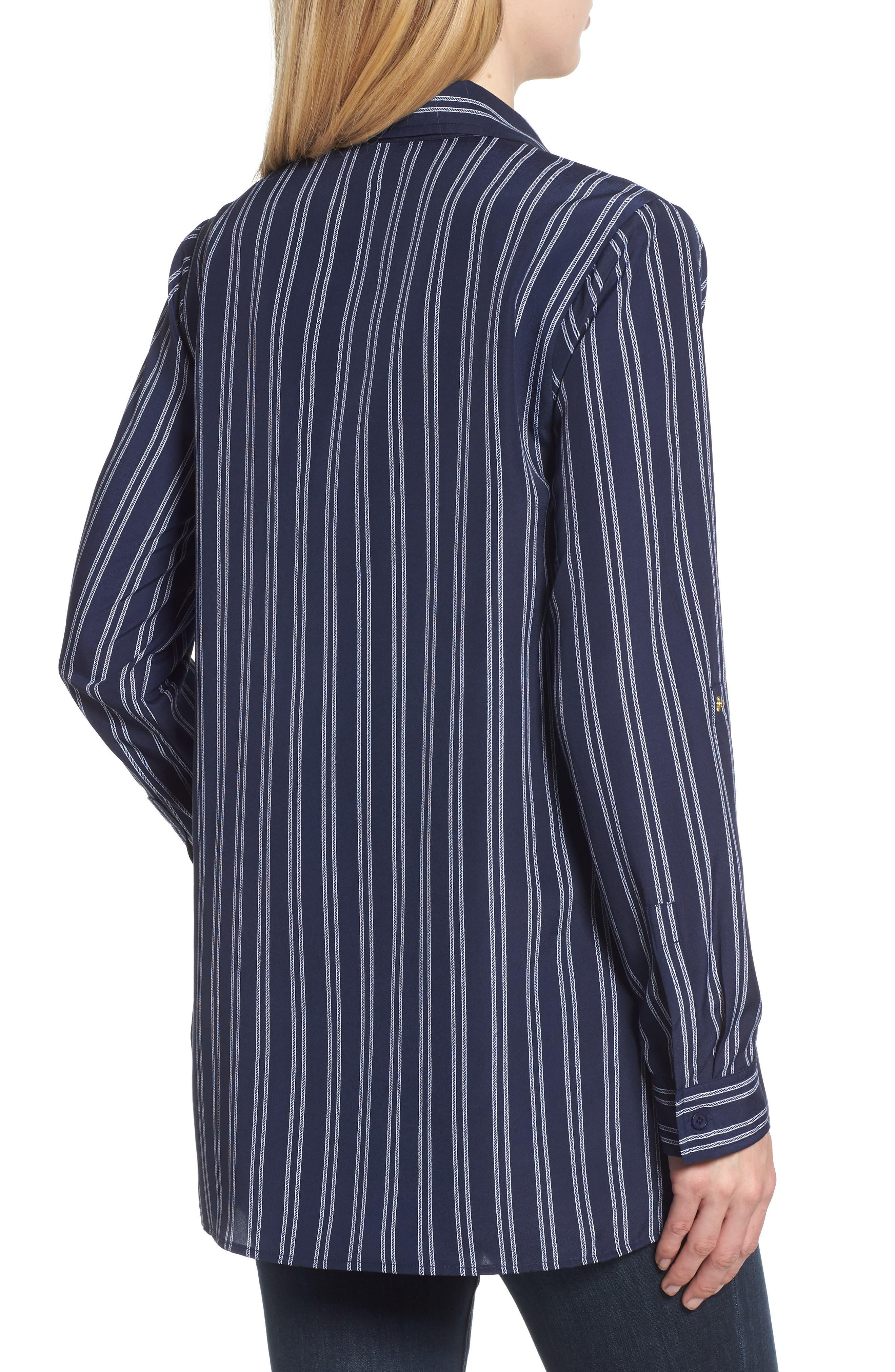 MICHAEL Michael Kors Bengal Striped Shirt,                             Alternate thumbnail 2, color,                             TRUE NAVY