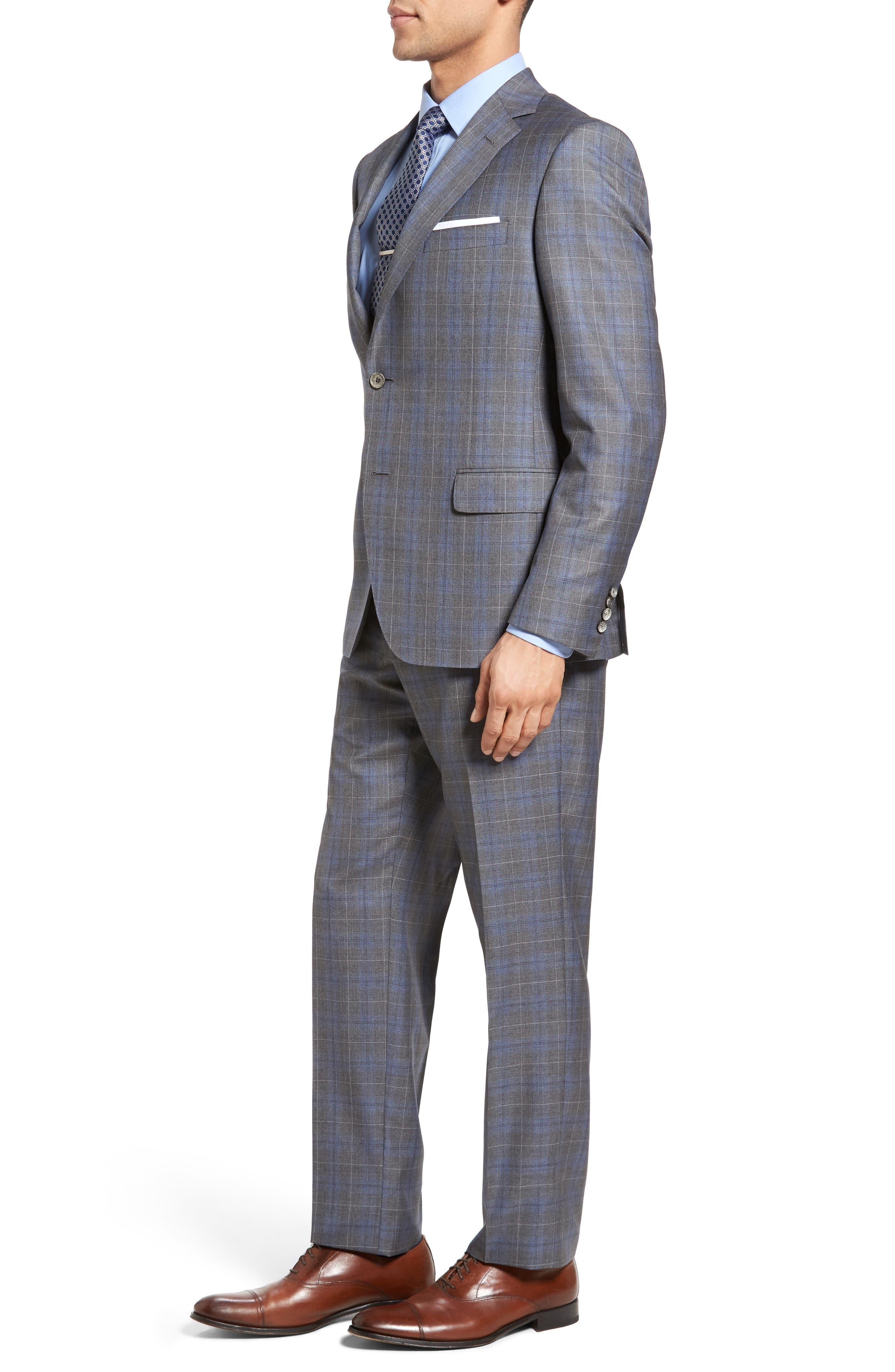 Classic Fit Plaid Wool & Silk Suit,                             Alternate thumbnail 3, color,