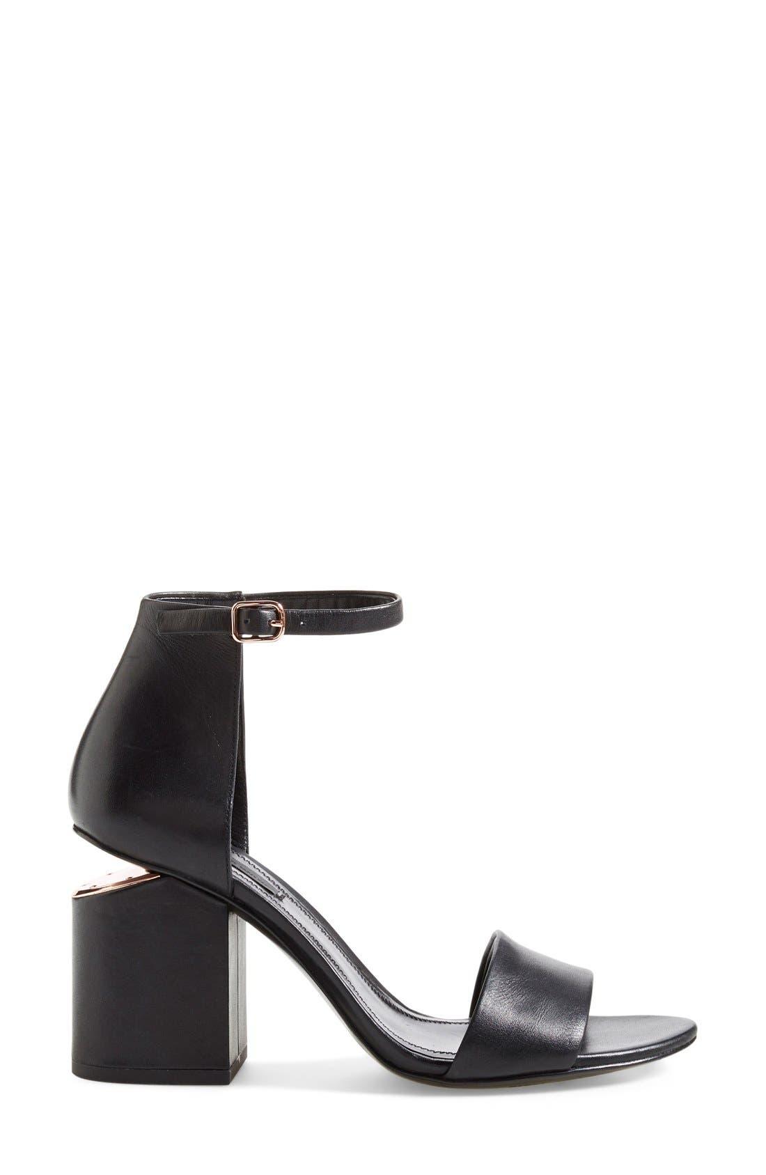 'Abby' Ankle Strap Sandal,                             Alternate thumbnail 8, color,                             BLACK