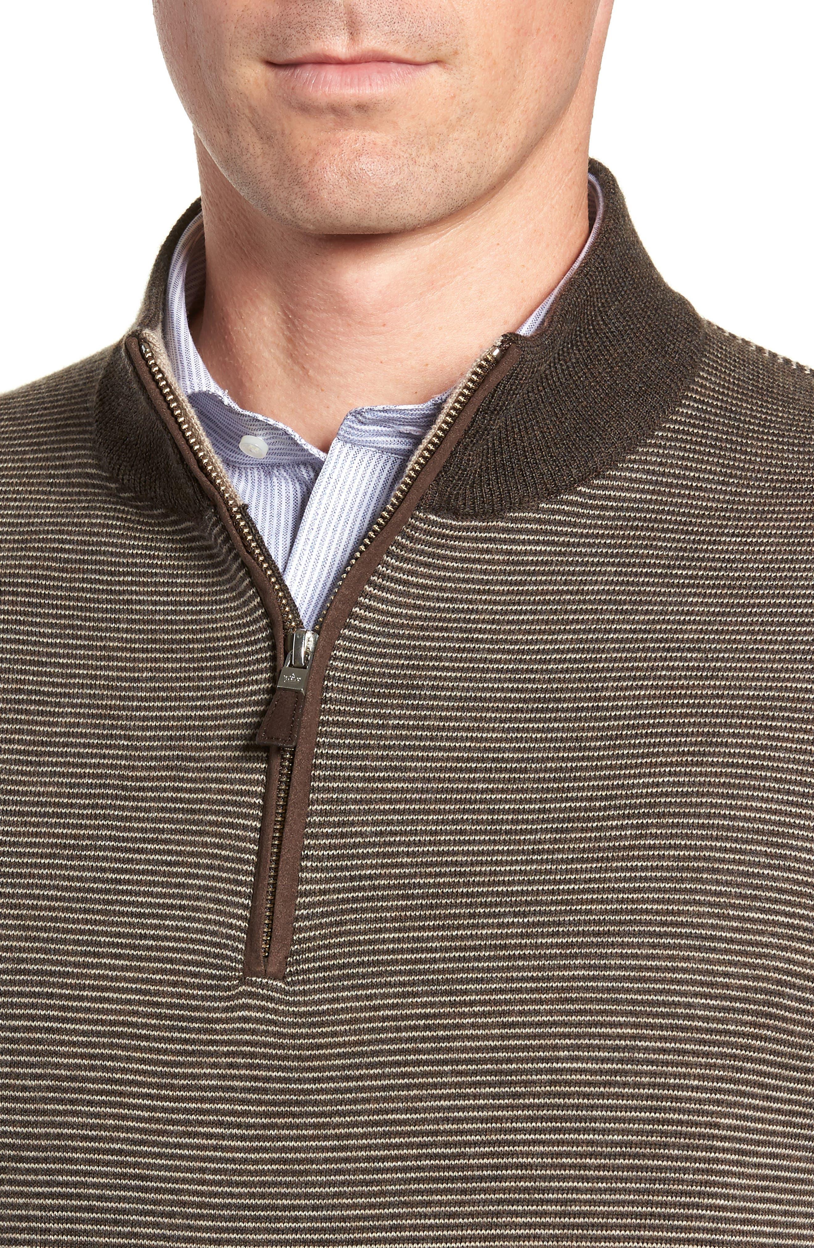 Needle Stripe Quarter Zip Sweater,                             Alternate thumbnail 4, color,                             200