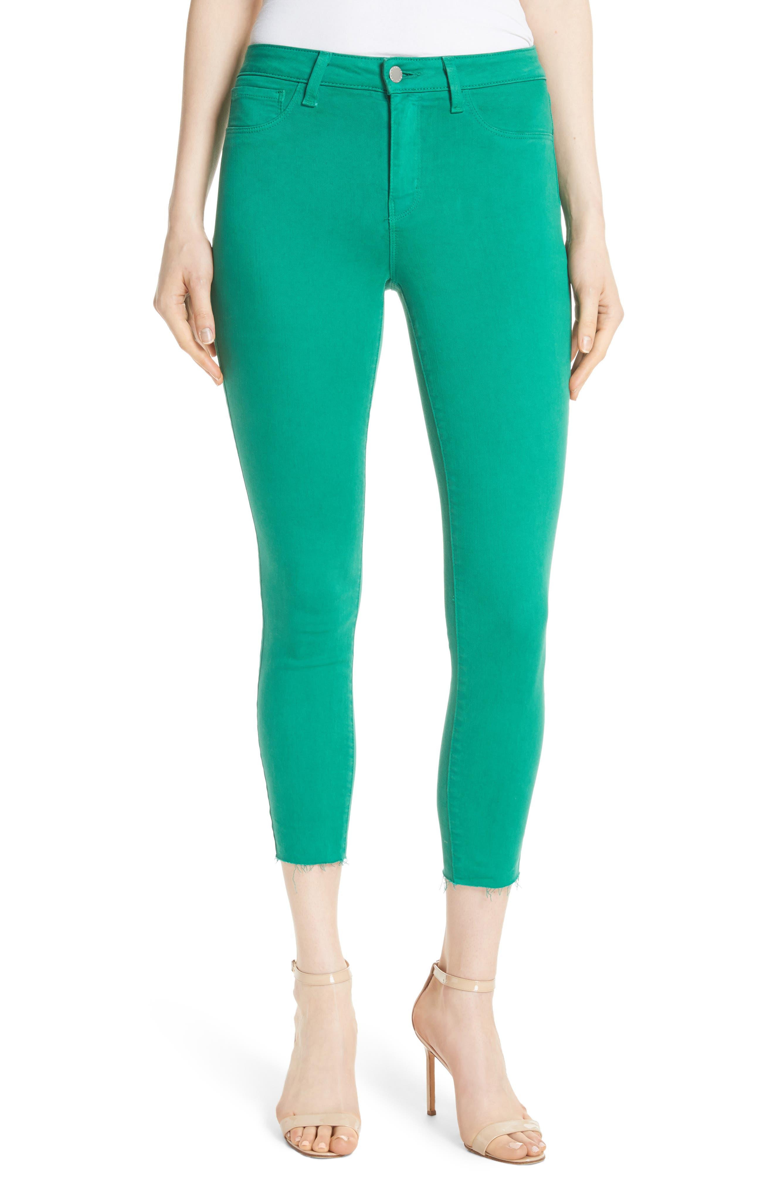 Margot Crop Skinny Jeans,                         Main,                         color, EMERALD