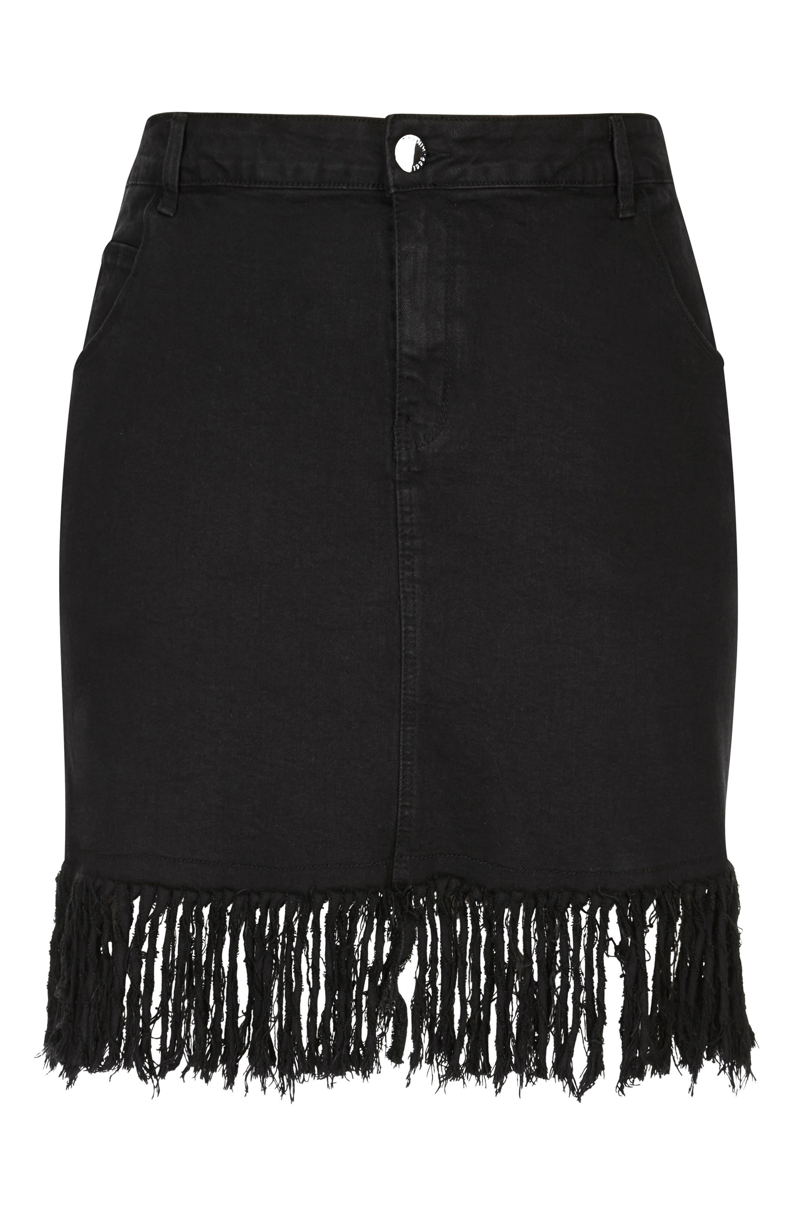 Frayed Hem Denim Skirt,                             Alternate thumbnail 3, color,                             BLACK