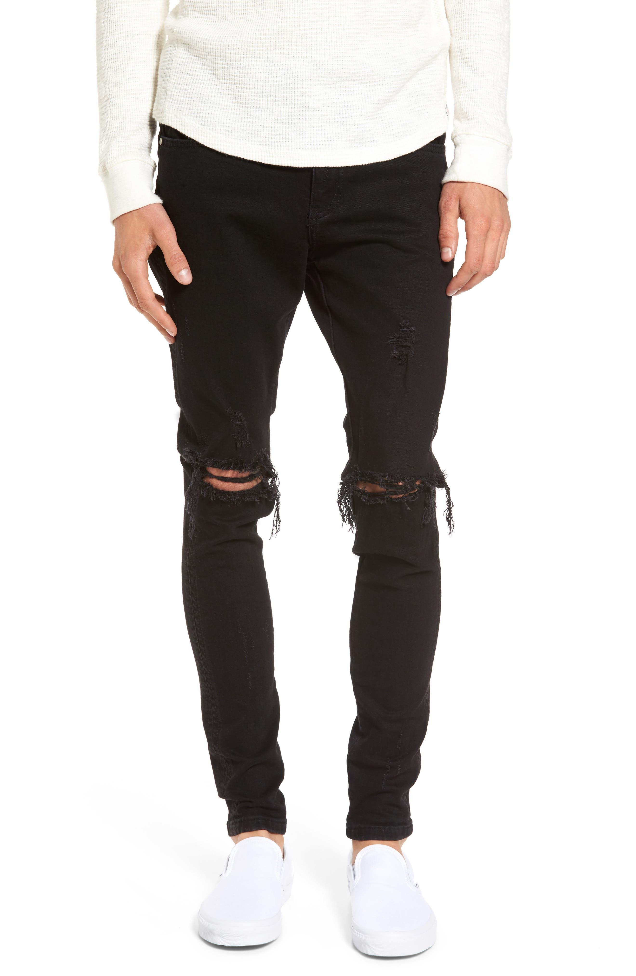 Slim Fit Destroyed Jeans,                         Main,                         color,