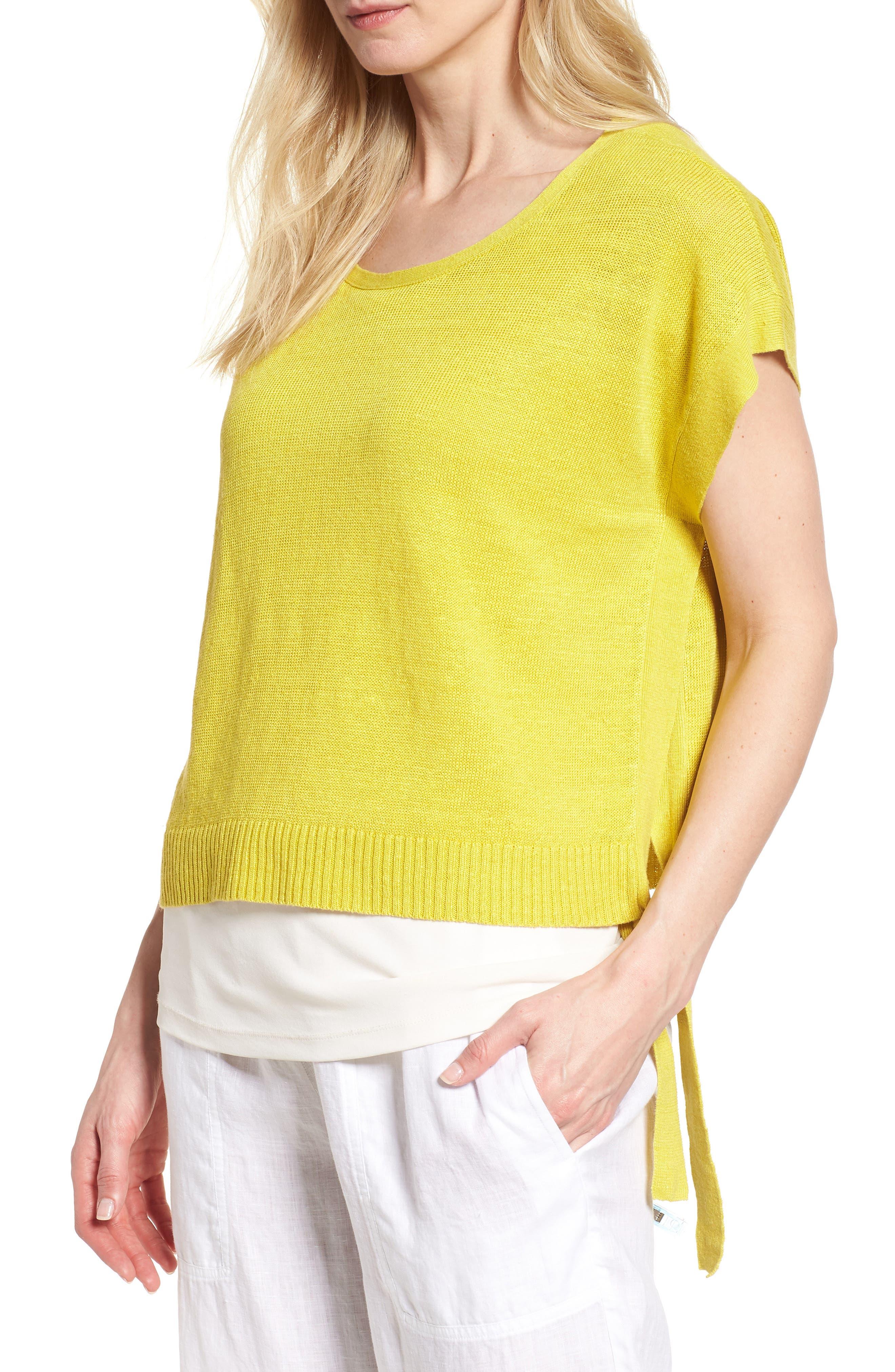 Short Organic Linen Poncho Top,                             Main thumbnail 6, color,