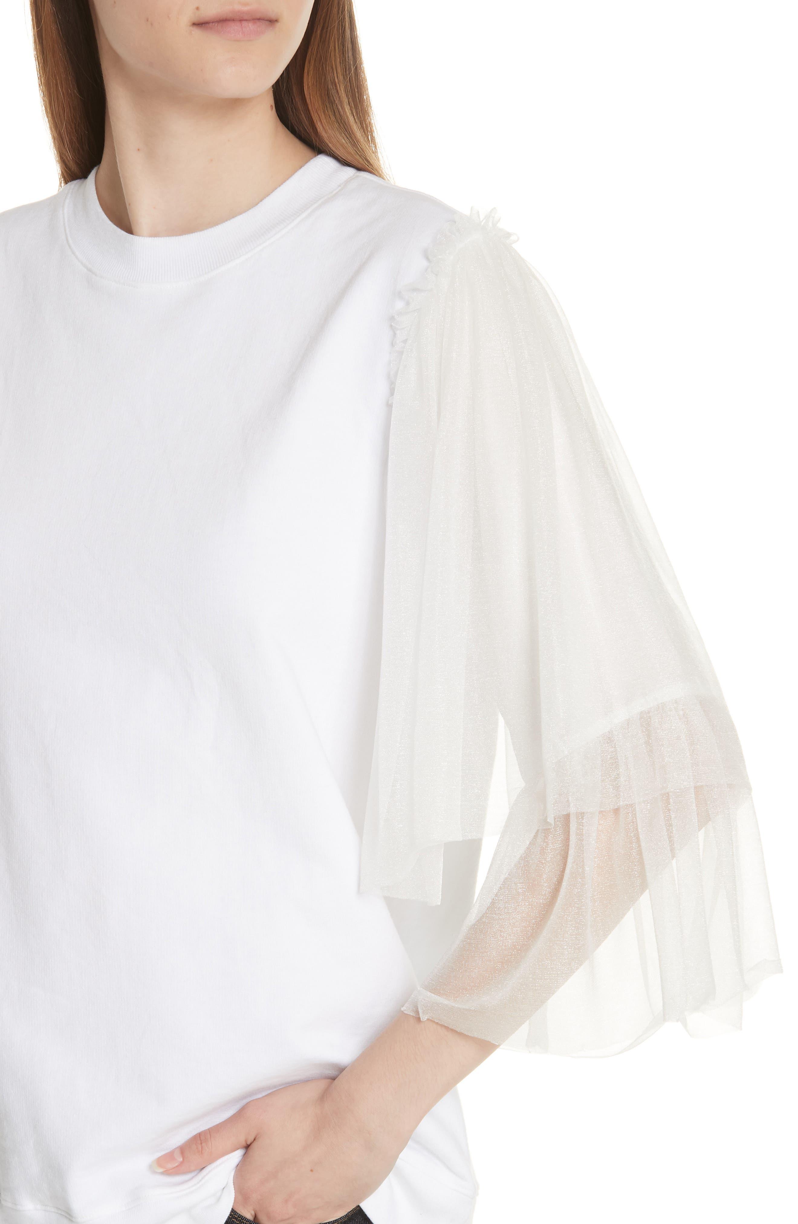 Tulle Sleeve Sweatshirt,                             Alternate thumbnail 4, color,                             WHITE