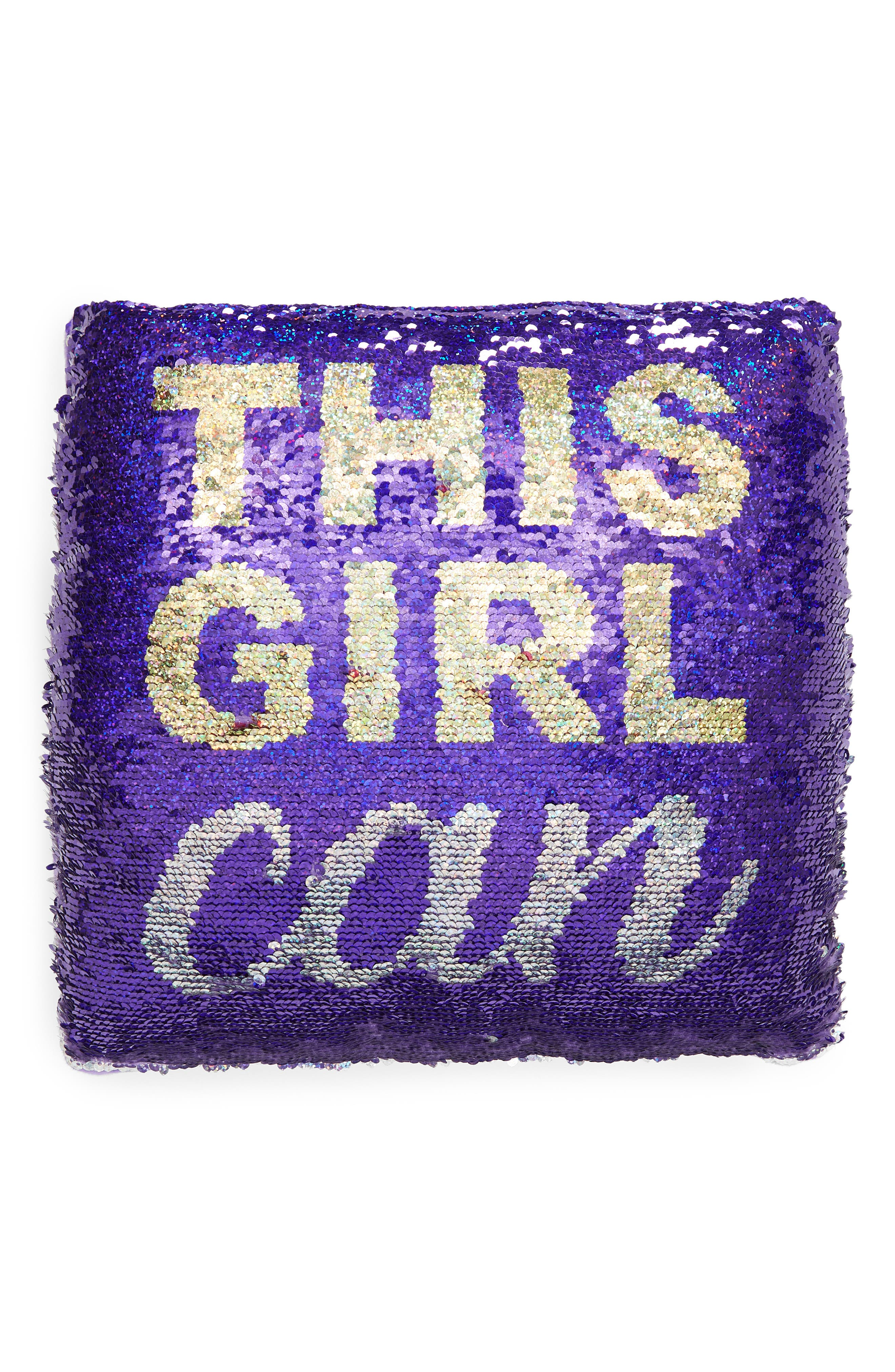 This Girl Can Flip Sequin Accent Pillow,                             Main thumbnail 1, color,                             PURPLE/ SILVER