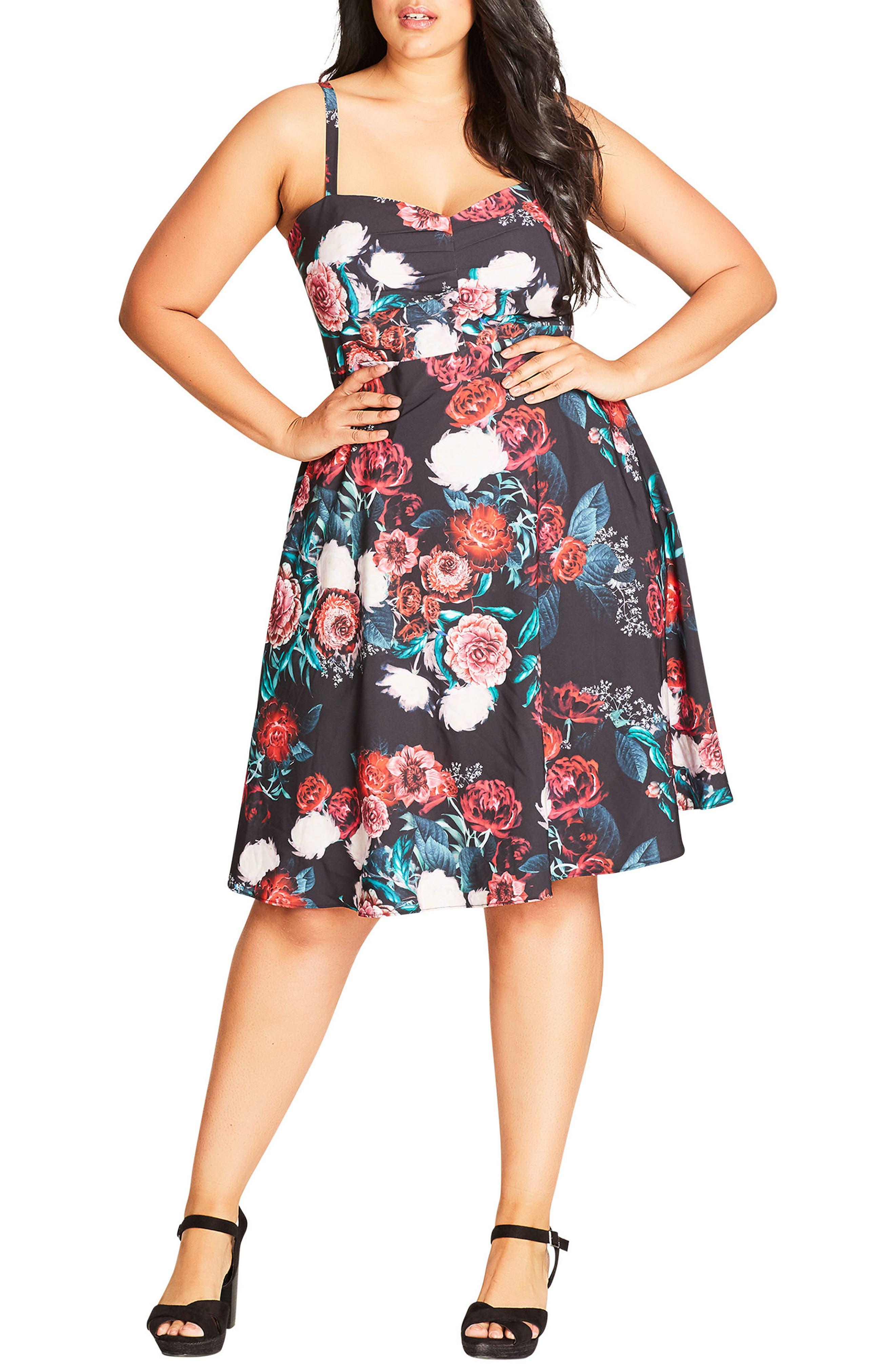 Floral Print Fit & Flare Dress,                             Main thumbnail 1, color,                             001