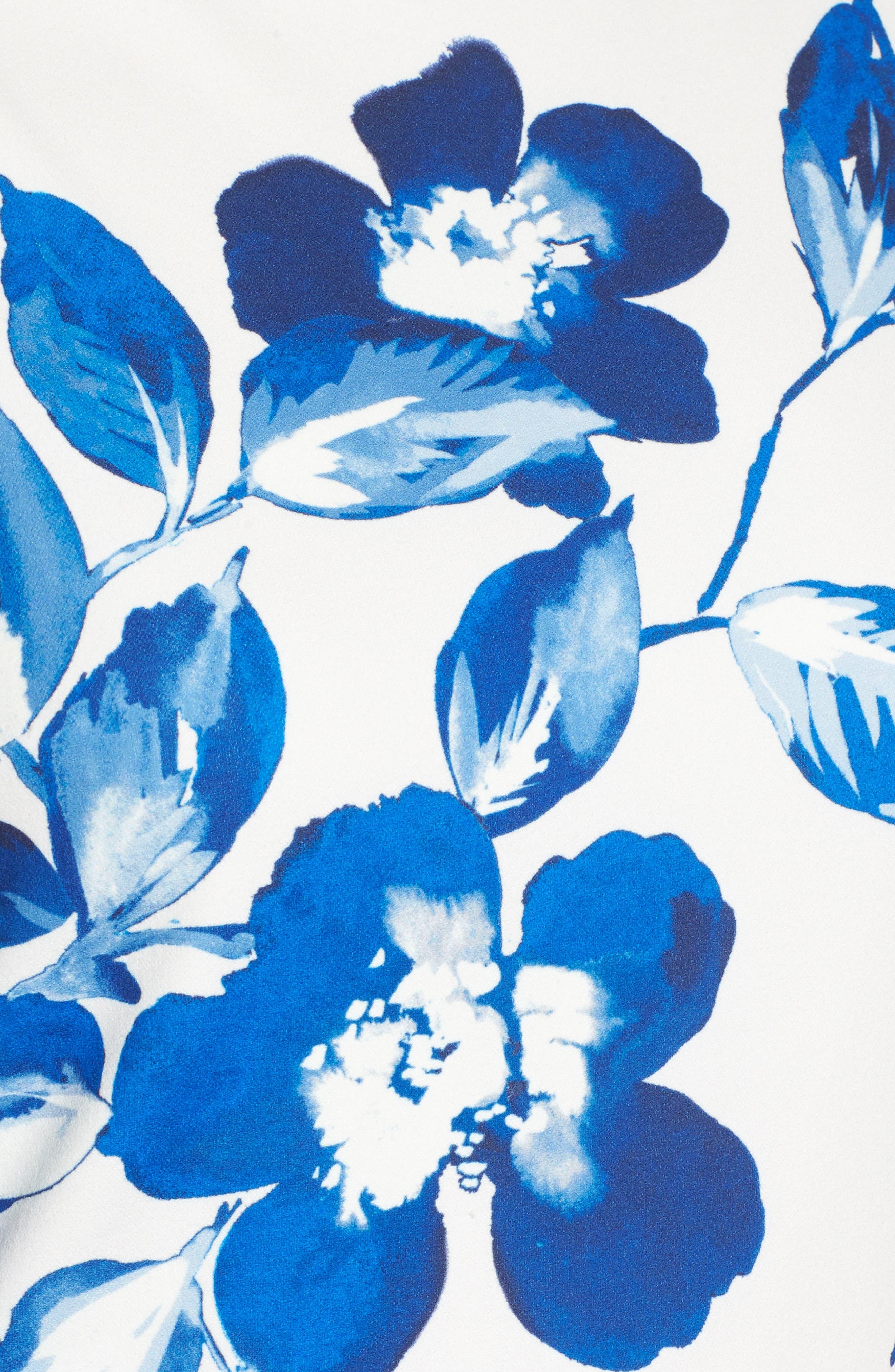 Floral Shift Dress,                             Alternate thumbnail 7, color,                             BLUE/ IVORY