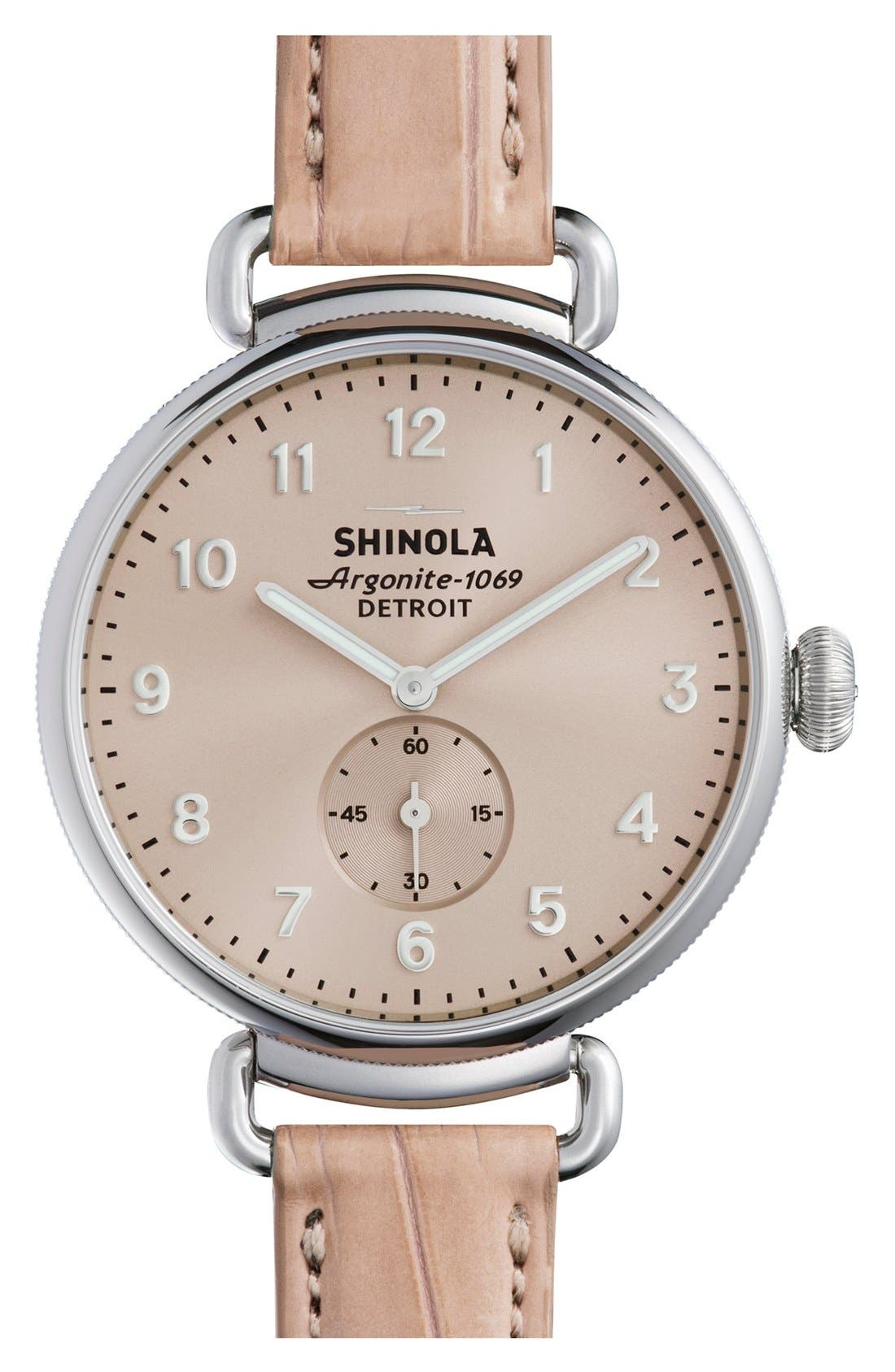The Canfield Alligator Strap Watch, 38mm,                         Main,                         color, PINK/ NUDE