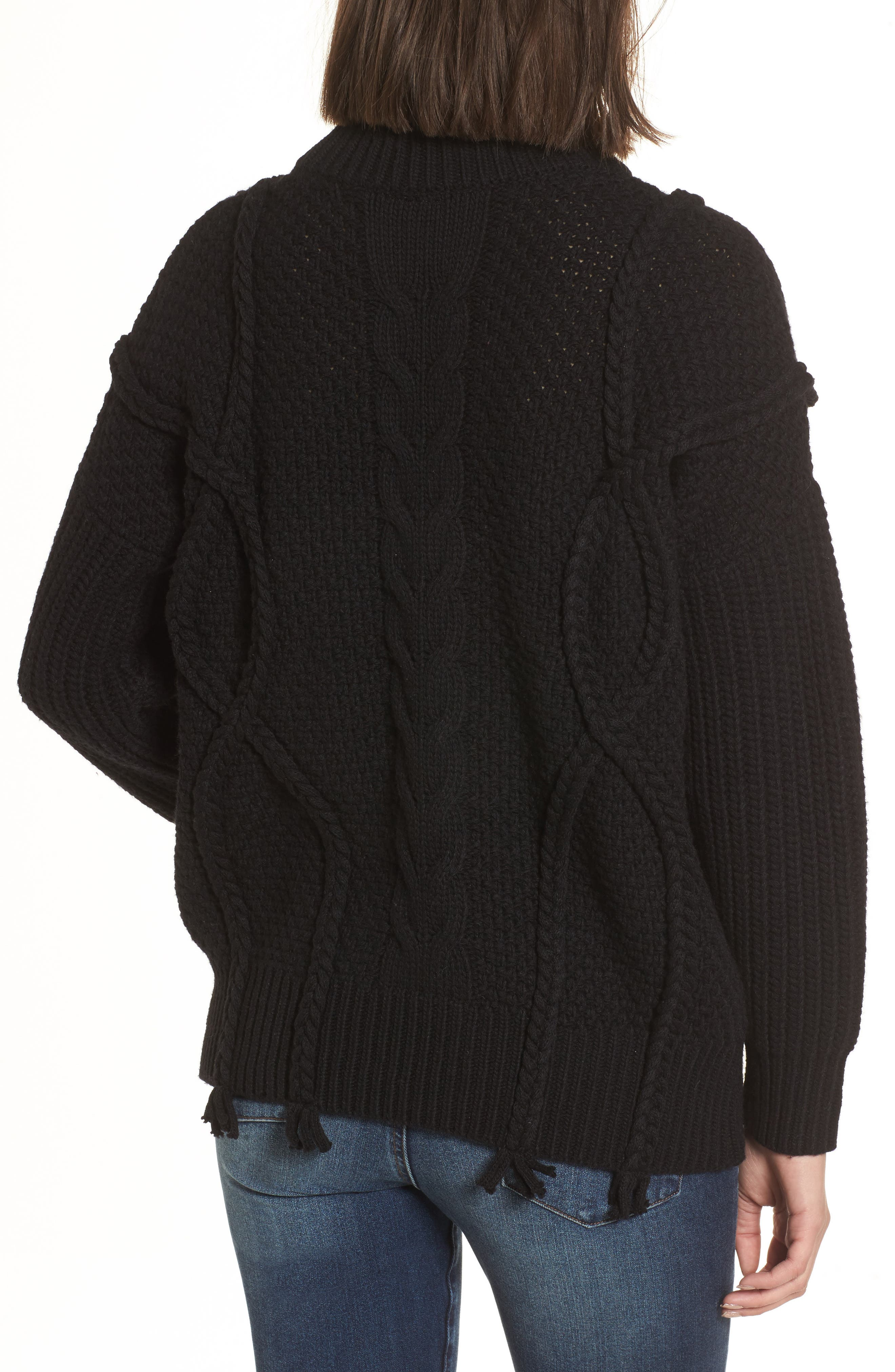 Plaited Cable Knit Sweater,                             Alternate thumbnail 2, color,                             001