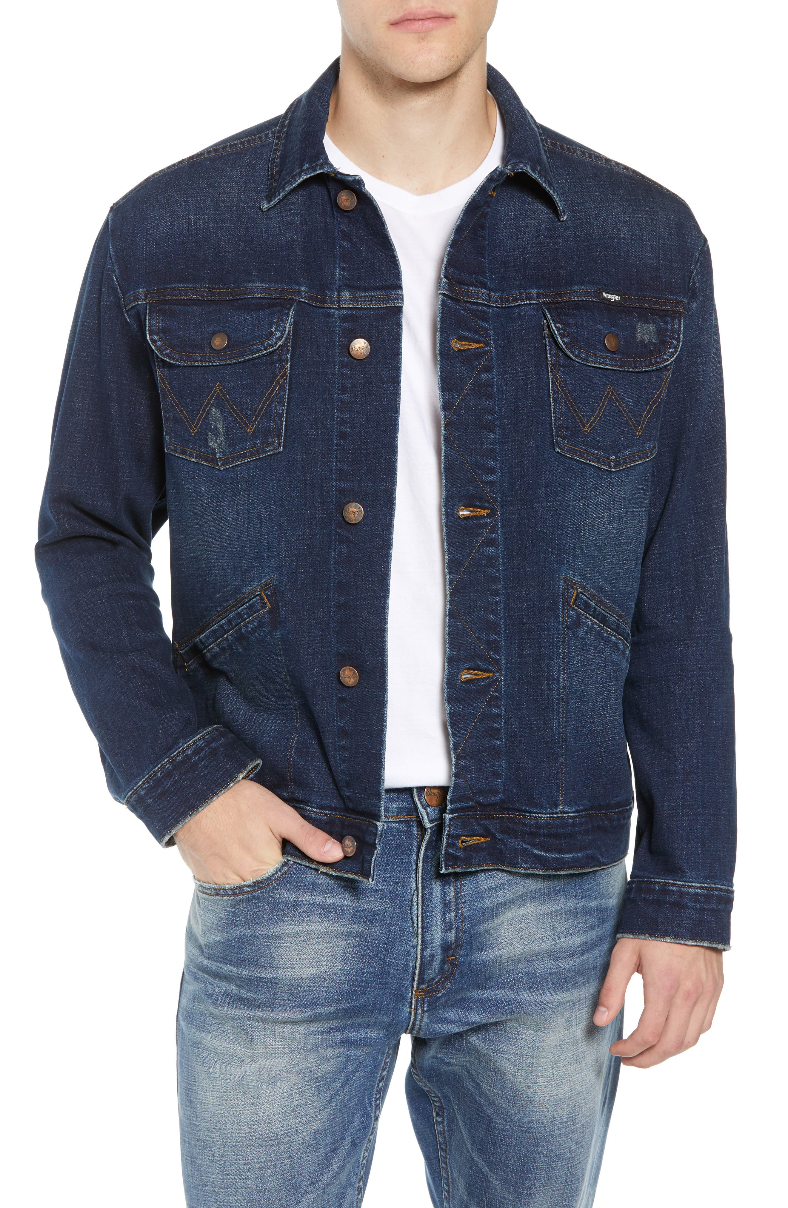 Heritage Denim Jacket,                             Main thumbnail 1, color,                             DARK WASH