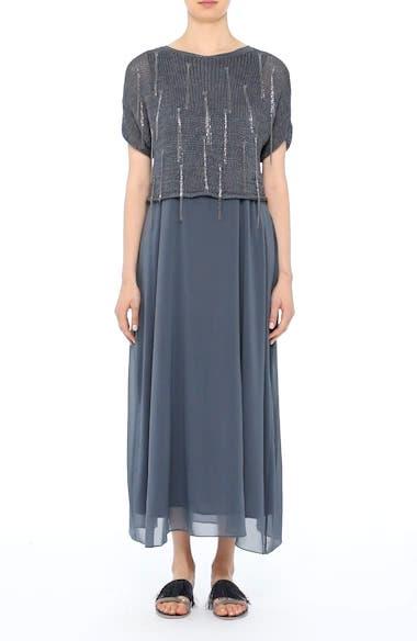 Knit Overlay Stretch Silk Dress, video thumbnail