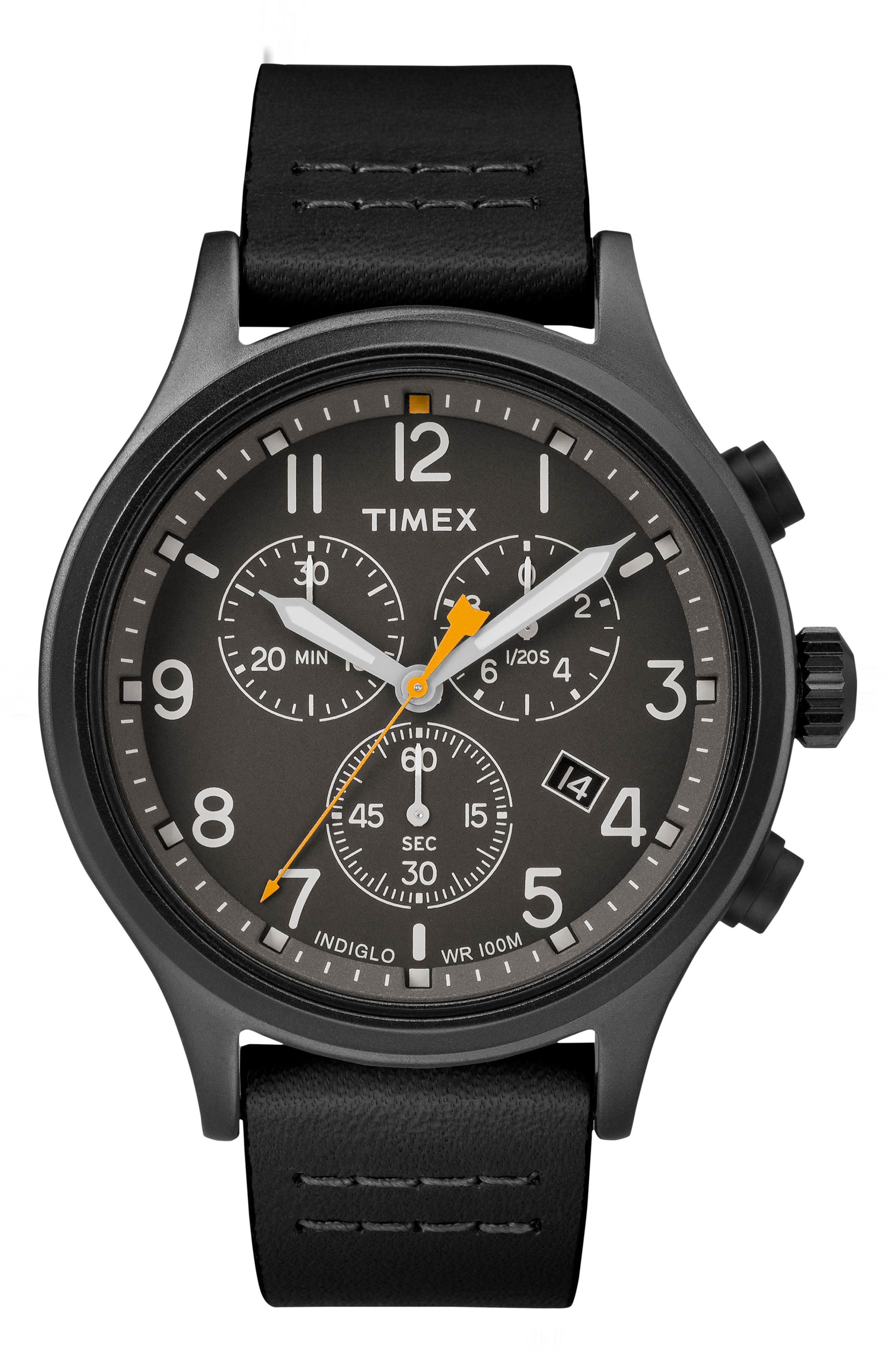 Allied Chronograph Leather Strap Watch, 42mm,                             Main thumbnail 1, color,                             BLACK