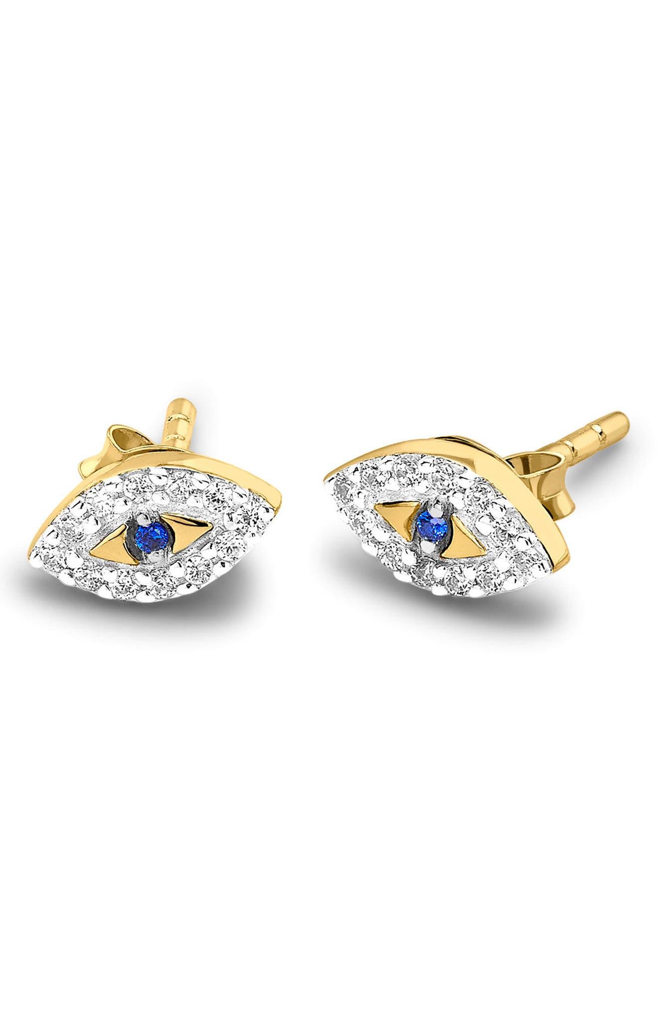 Evil Eye Stud Earrings,                         Main,                         color,