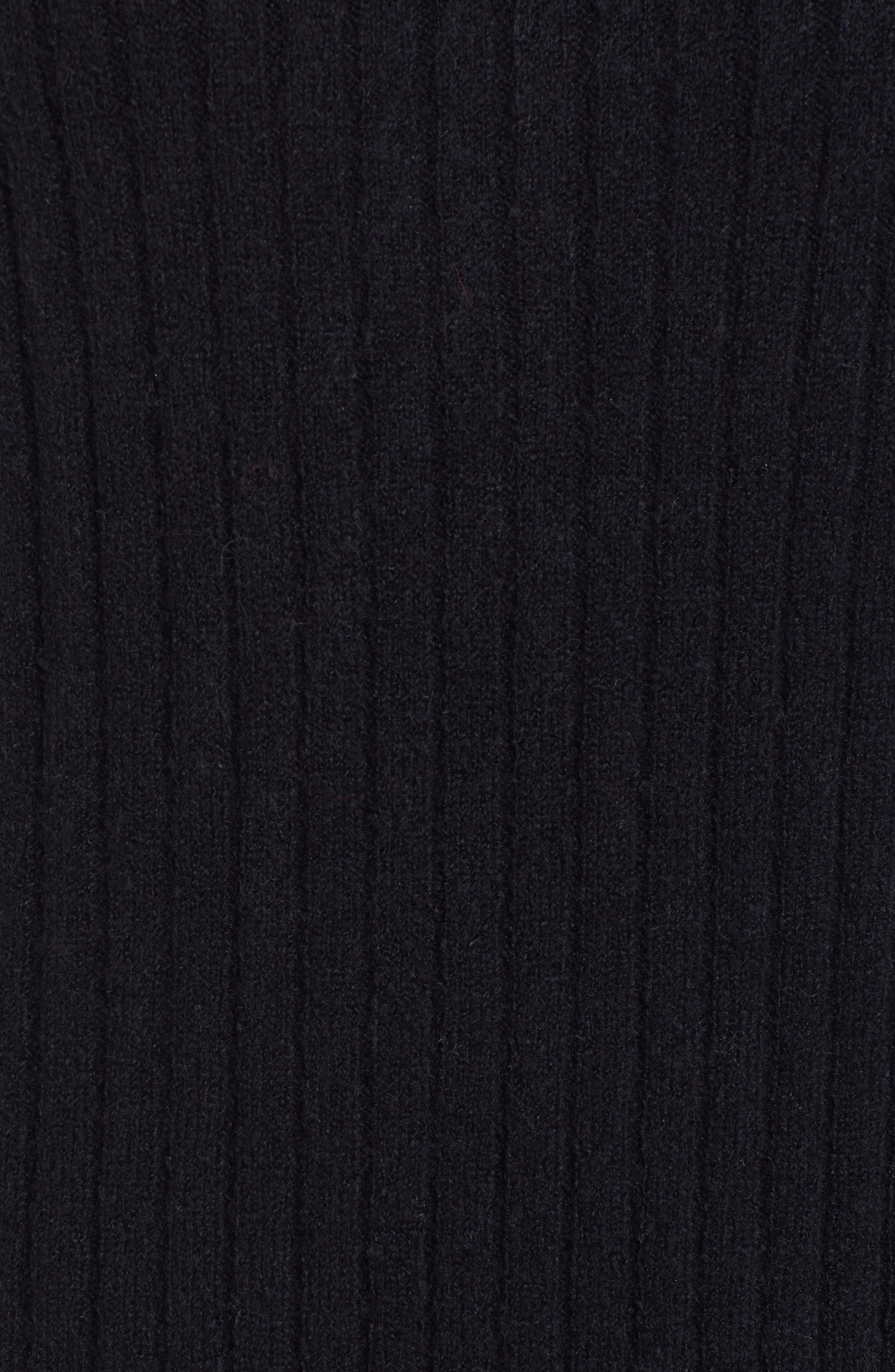 Rib Midi Sweater Dress,                             Alternate thumbnail 6, color,                             BLACK