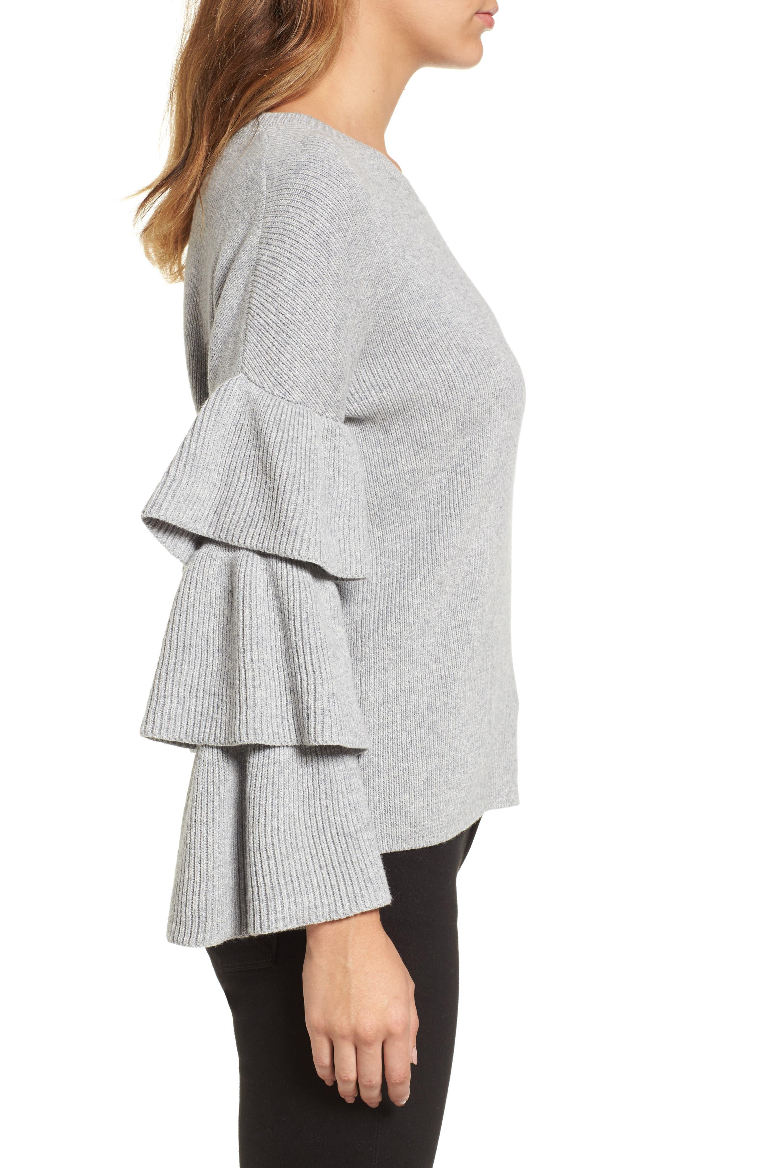 Ruffle Sleeve Sweater,                             Alternate thumbnail 10, color,