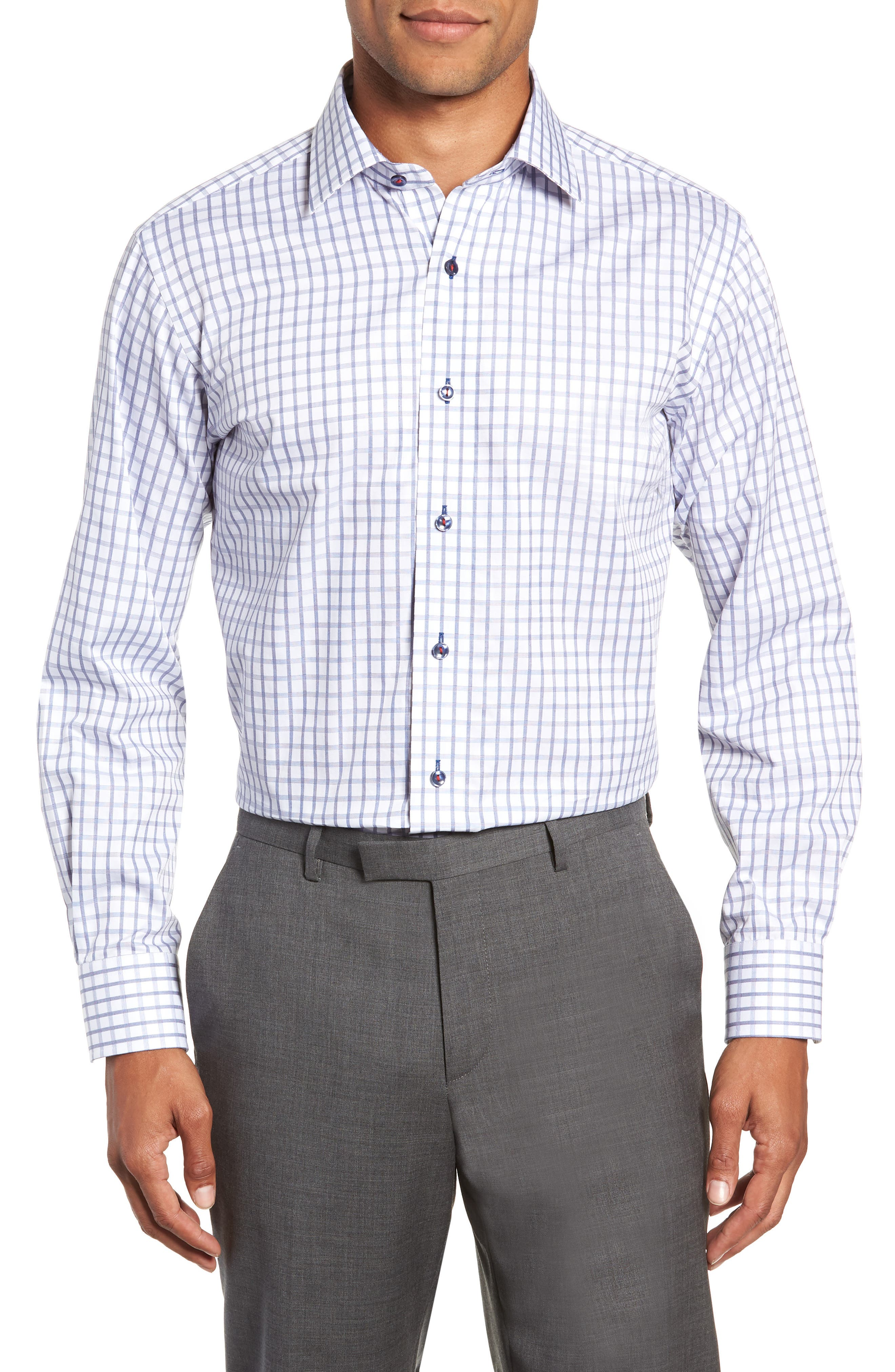 Trim Fit Check Dress Shirt,                             Main thumbnail 1, color,                             420