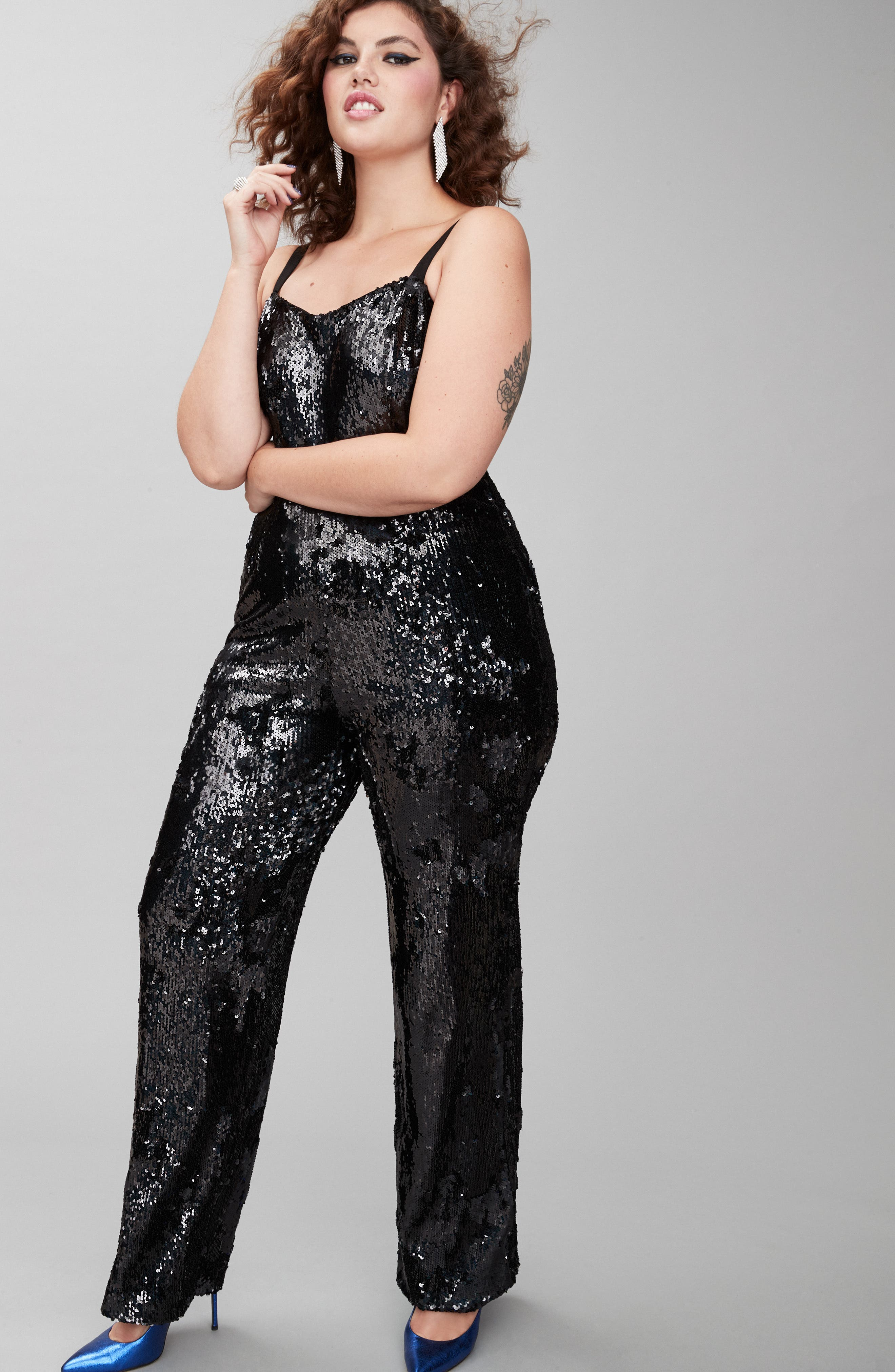 Victoria Sequin Jumpsuit,                             Alternate thumbnail 12, color,                             BLACK PEARL