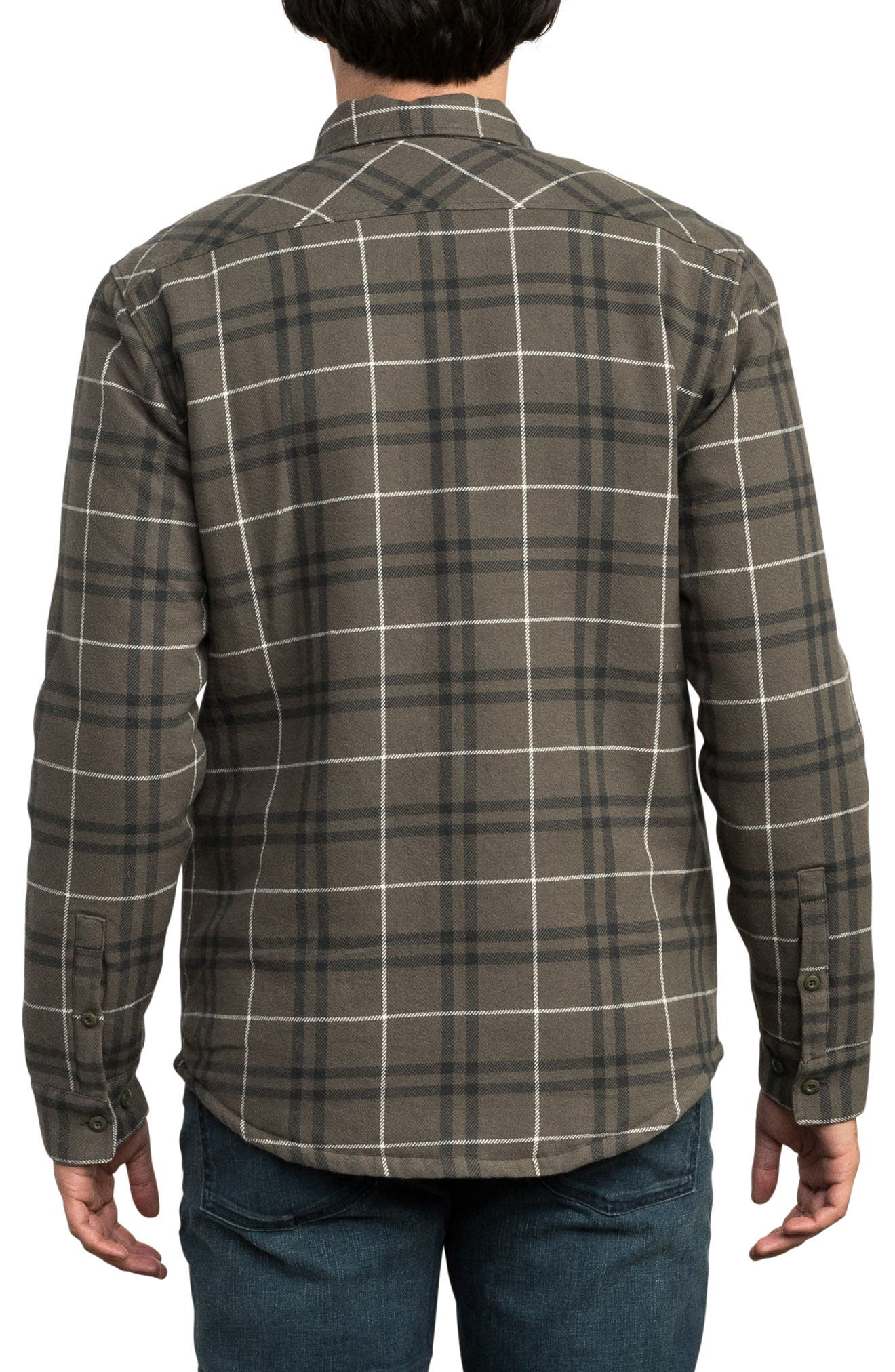 Andrew Reynolds Lined Plaid Shirt,                             Alternate thumbnail 2, color,                             OLIVE