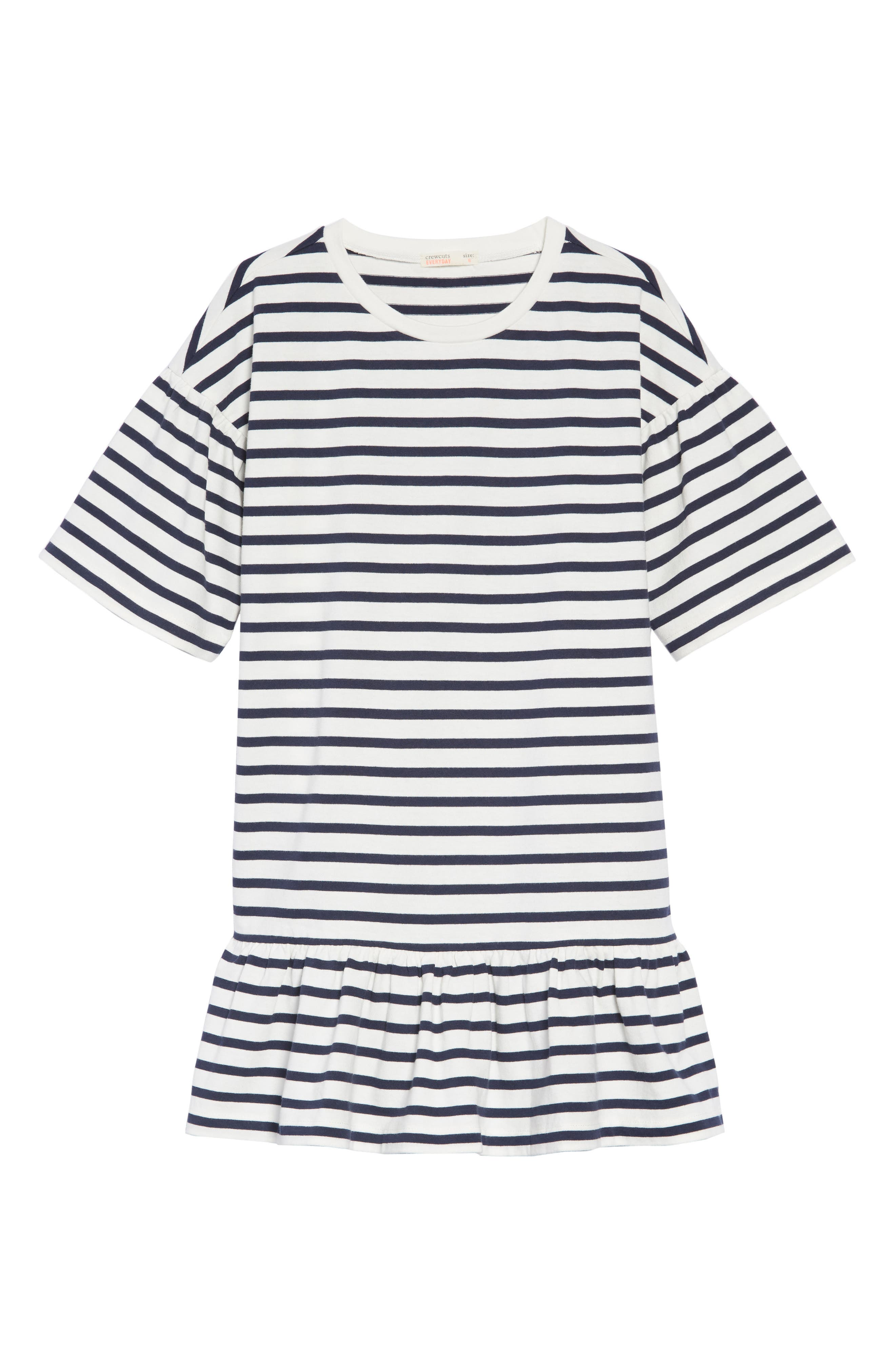 Drop Waist Dress,                         Main,                         color, NAVY AND WHITE STRIPE