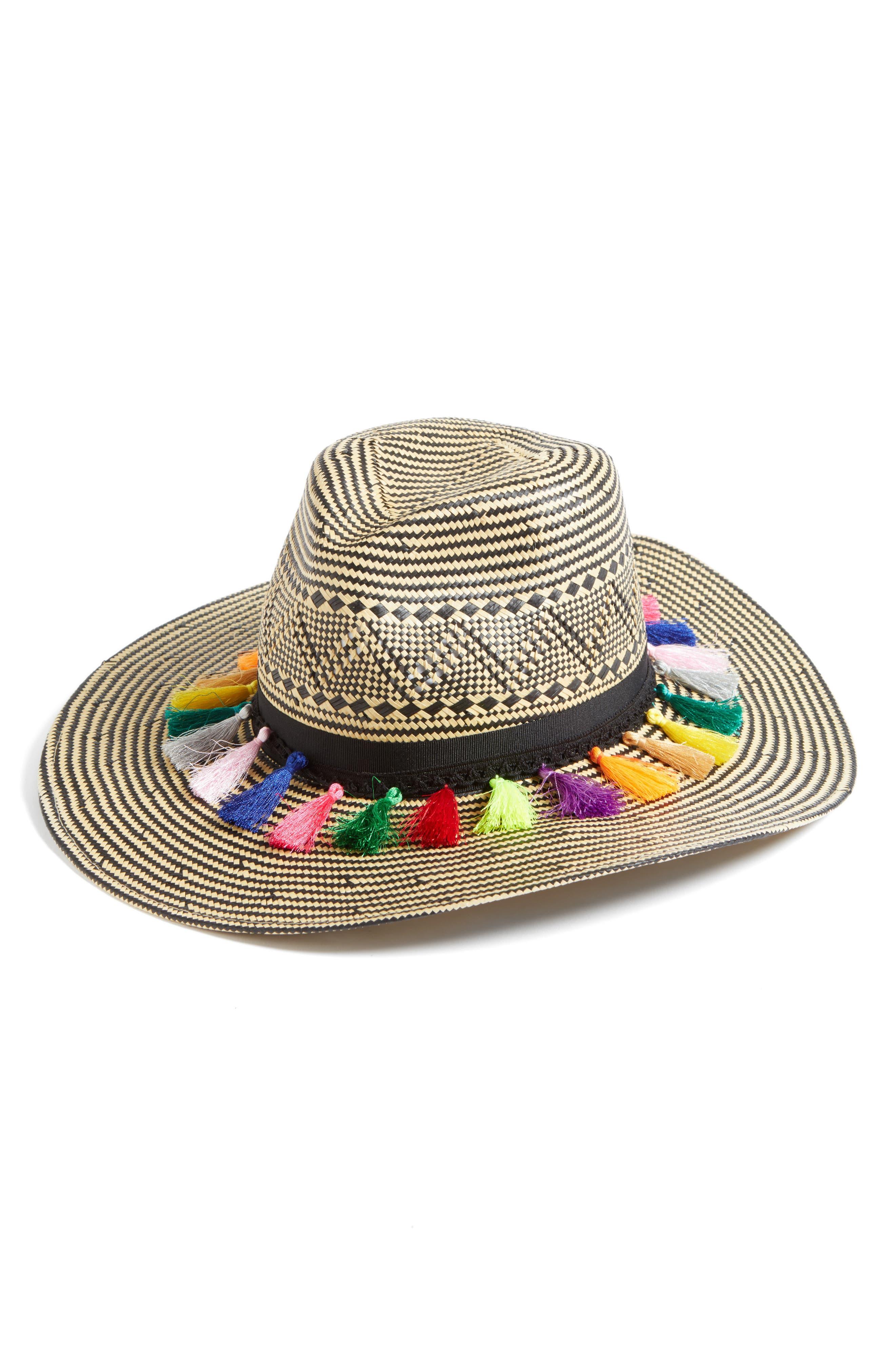 Playa Tassel Woven Safari Hat,                             Main thumbnail 1, color,