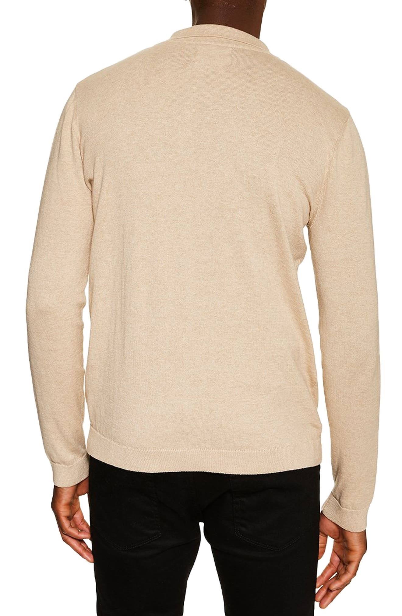 TOPMAN,                             Long Sleeve Polo Sweater,                             Alternate thumbnail 2, color,                             STONE