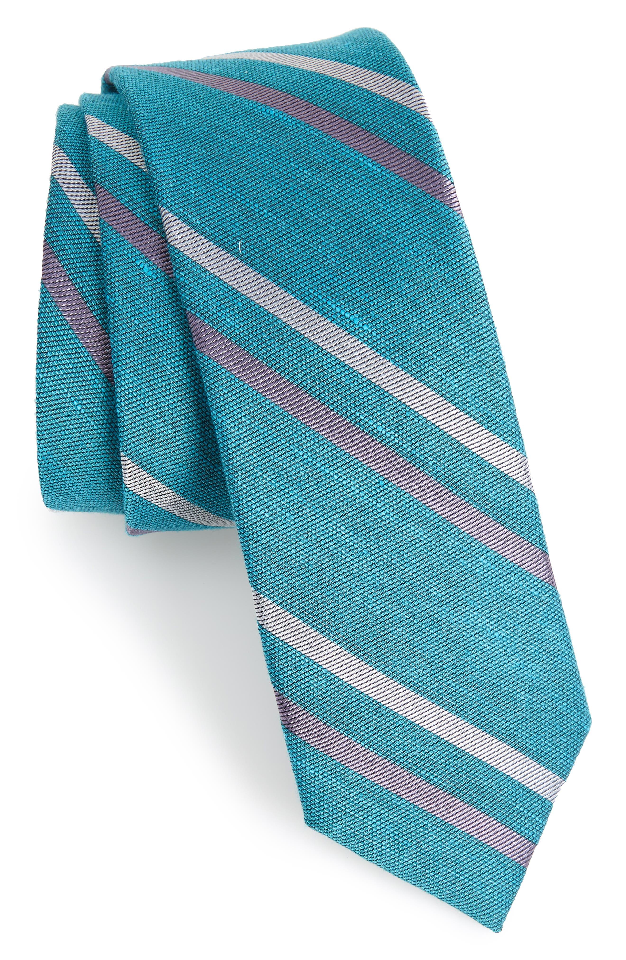 Pep Stripe Tie,                             Main thumbnail 1, color,                             AQUA