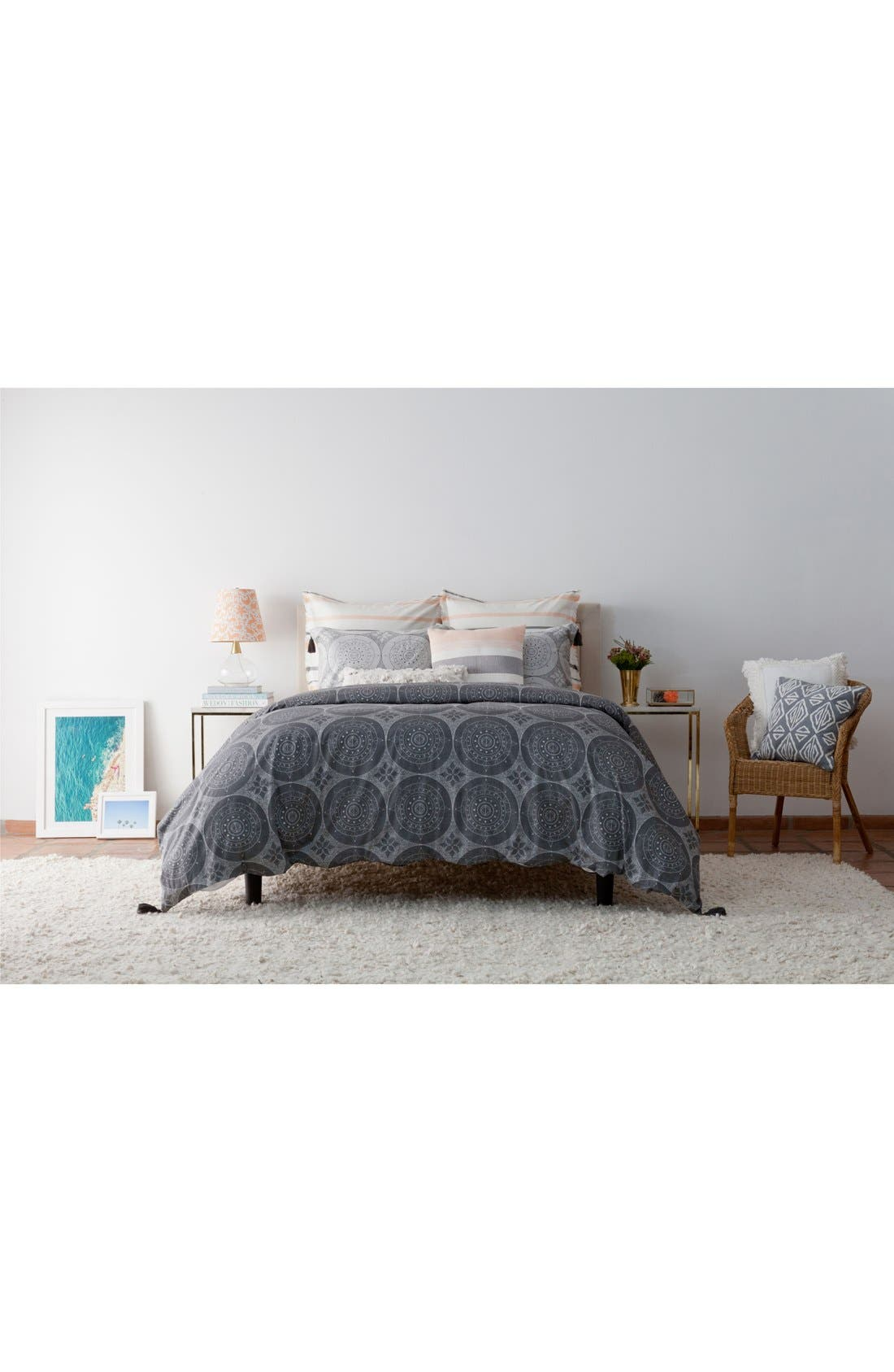 Dotted Medallion Duvet Cover,                             Alternate thumbnail 3, color,                             020