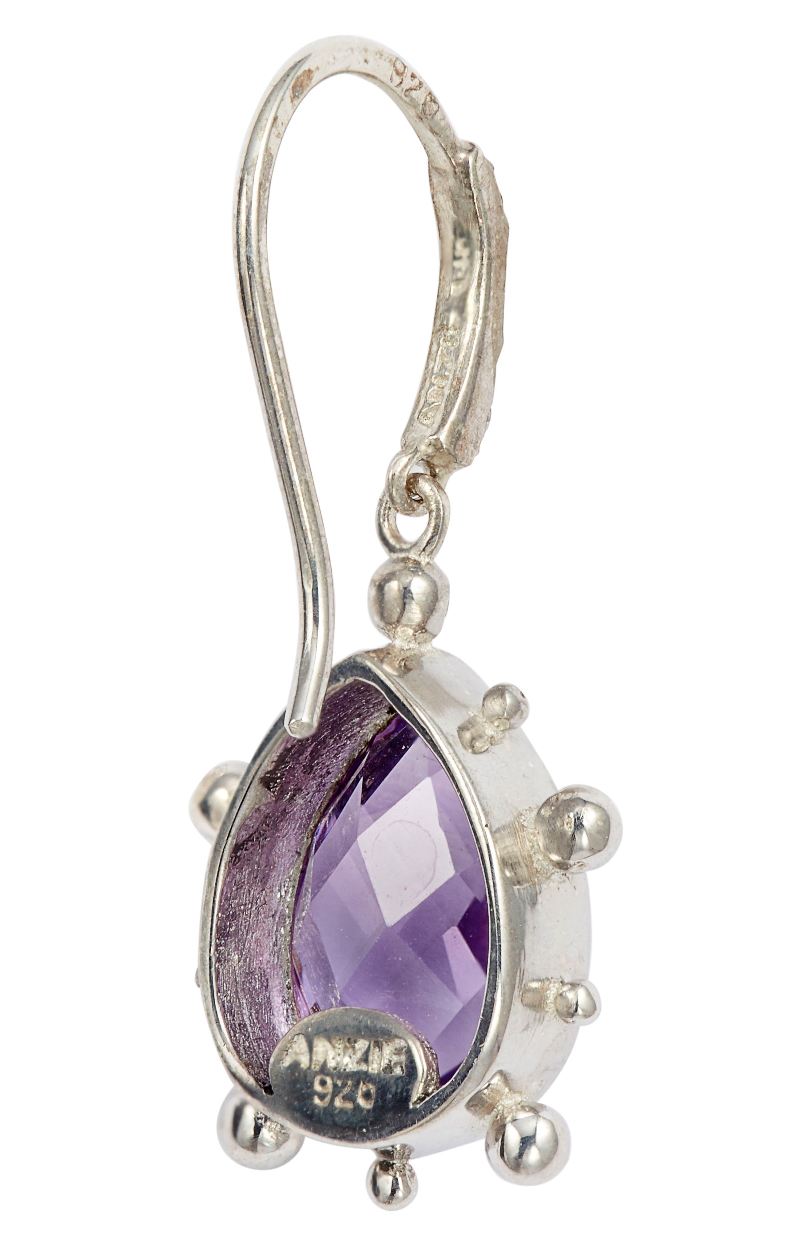 ANZIE,                             Dew Drop Purple Amethyst Earrings,                             Alternate thumbnail 3, color,                             SILVER/ PURPLE