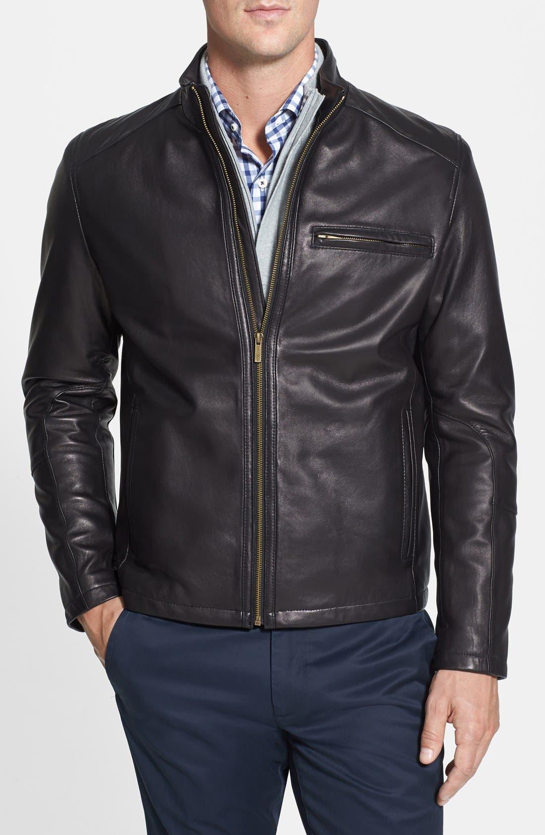 COLE HAAN Lambskin Leather Moto Jacket, Main, color, BLACK