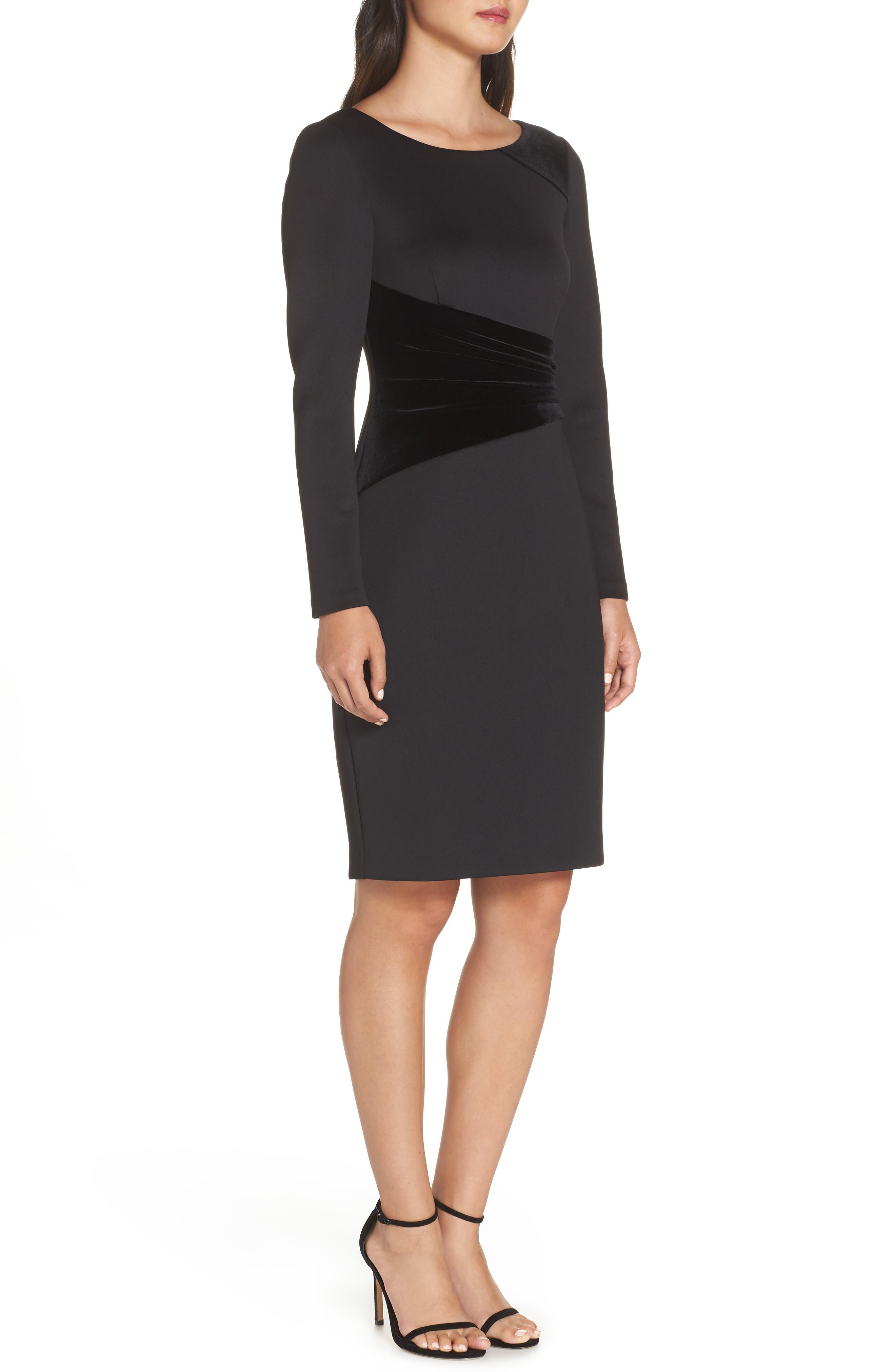 Contrast Dress,                             Alternate thumbnail 3, color,                             BLACK