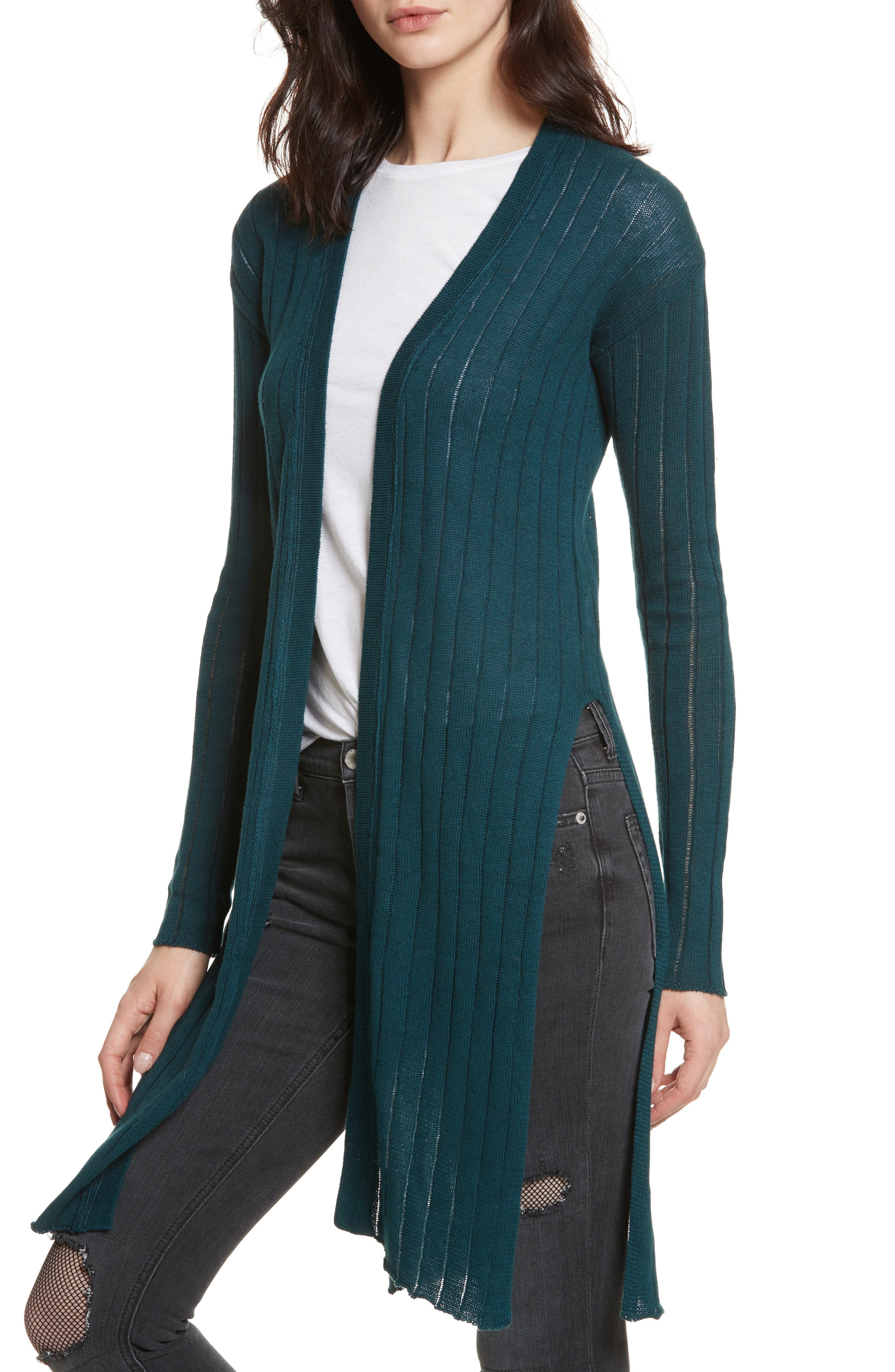 FREE PEOPLE,                             Ribby Long Cardigan,                             Alternate thumbnail 4, color,                             440